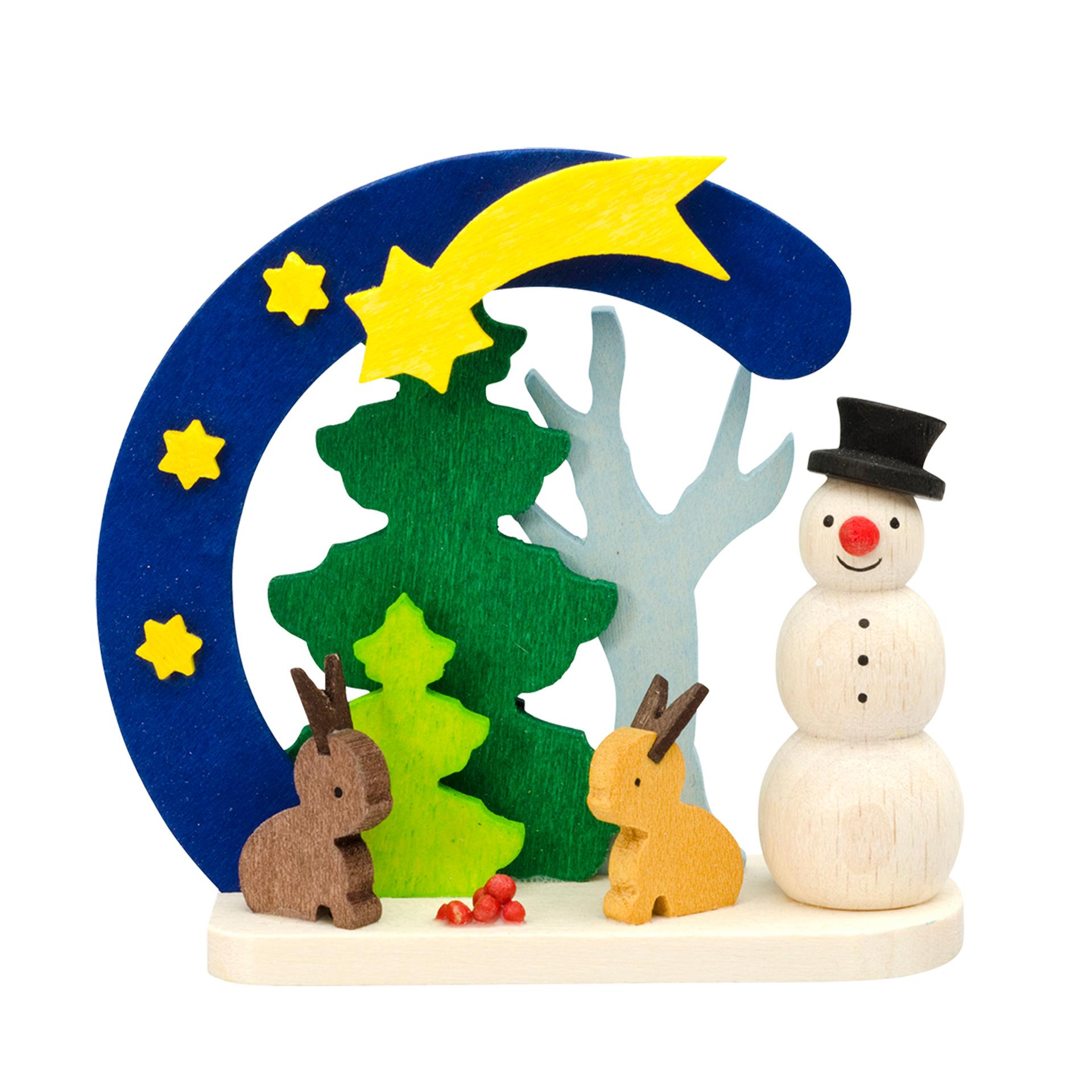 Baumschmuck Schneemann mit Hasen