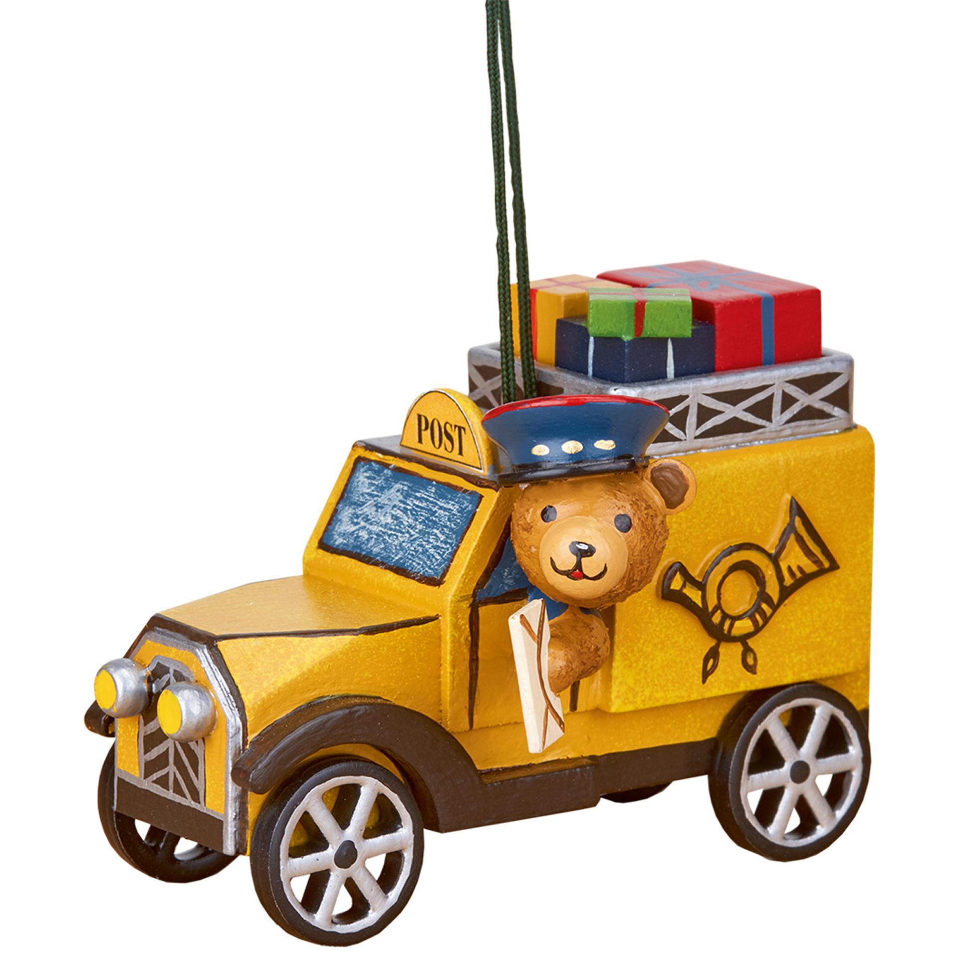 Baumschmuck Postauto mit Teddy