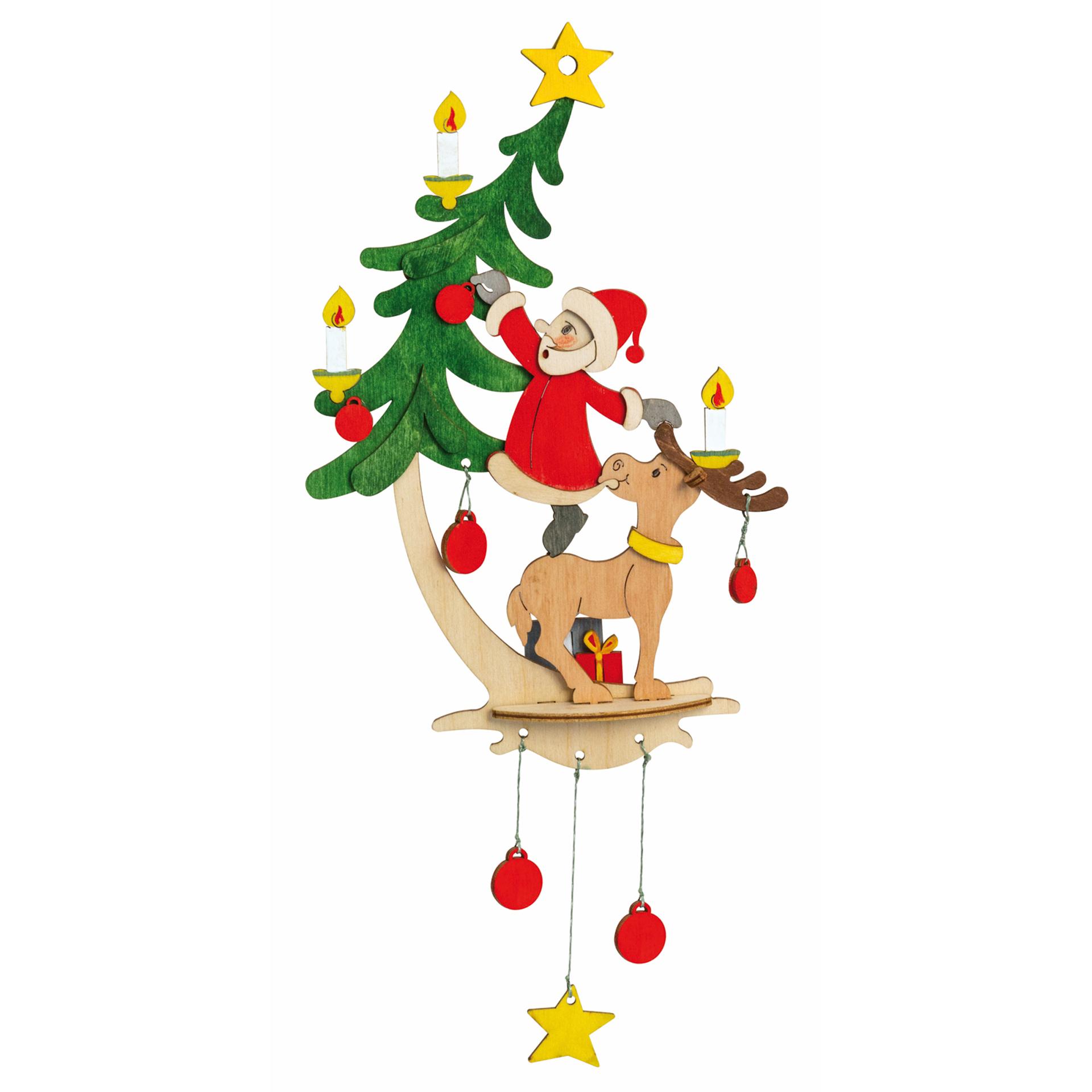 Bastelset Fensterbild Weihnachtsmann mit Elch