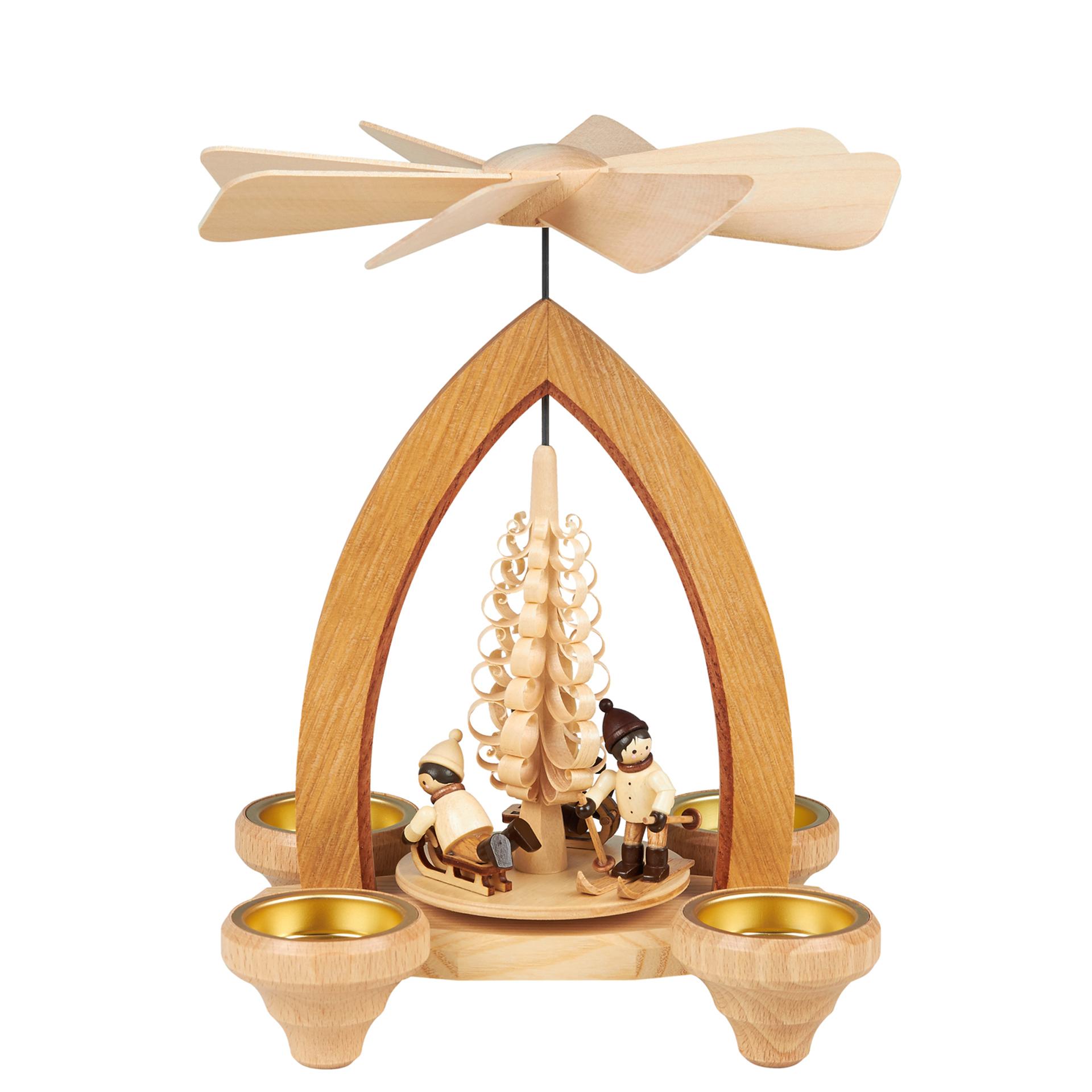Pyramide mit Winterkindern, für Teelichte