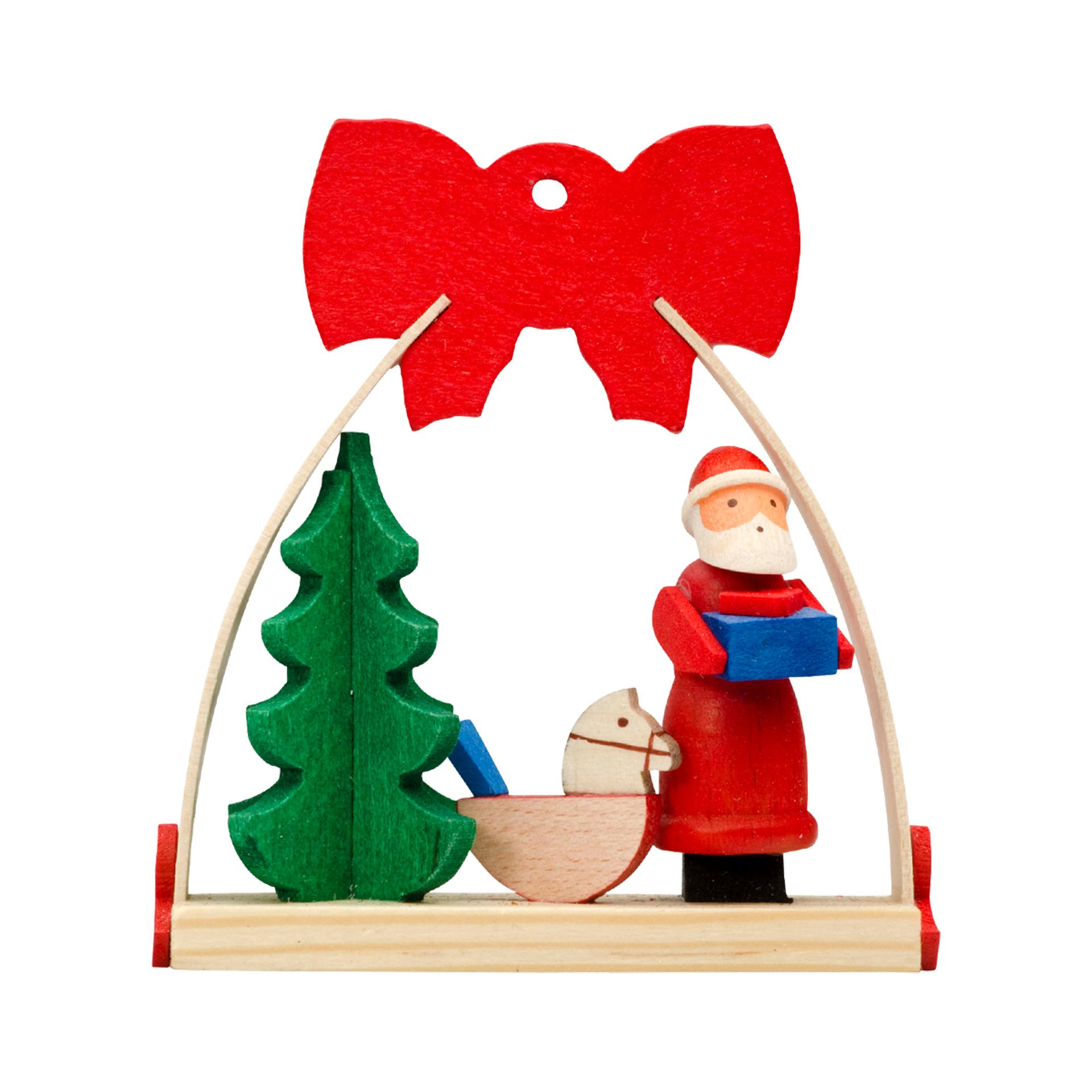 Baumschmuck Weihnachtsmann mit Schaukelpferd