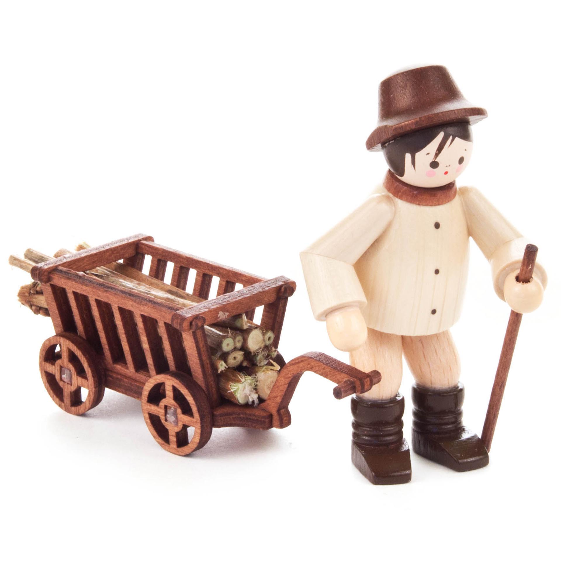 Waldarbeiter mit Handwagen