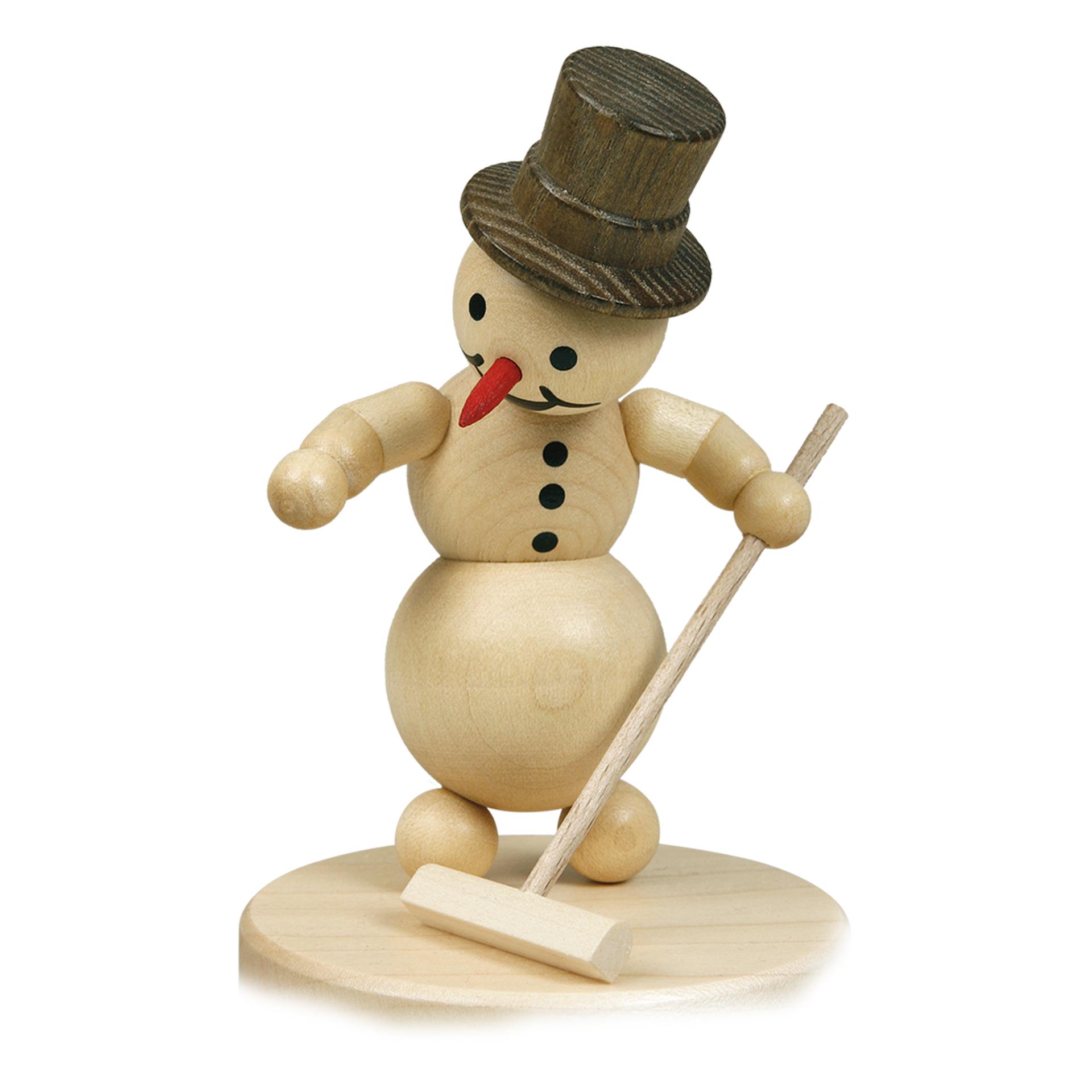 Schneemann Curlingspieler mit Besen, ohne Sockel