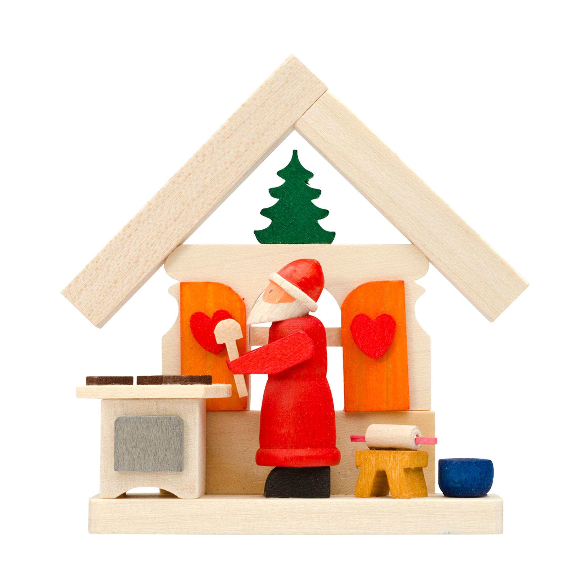 Baumschmuck Haus mit Weihnachtsmann in der Weihnachtsbäckerei