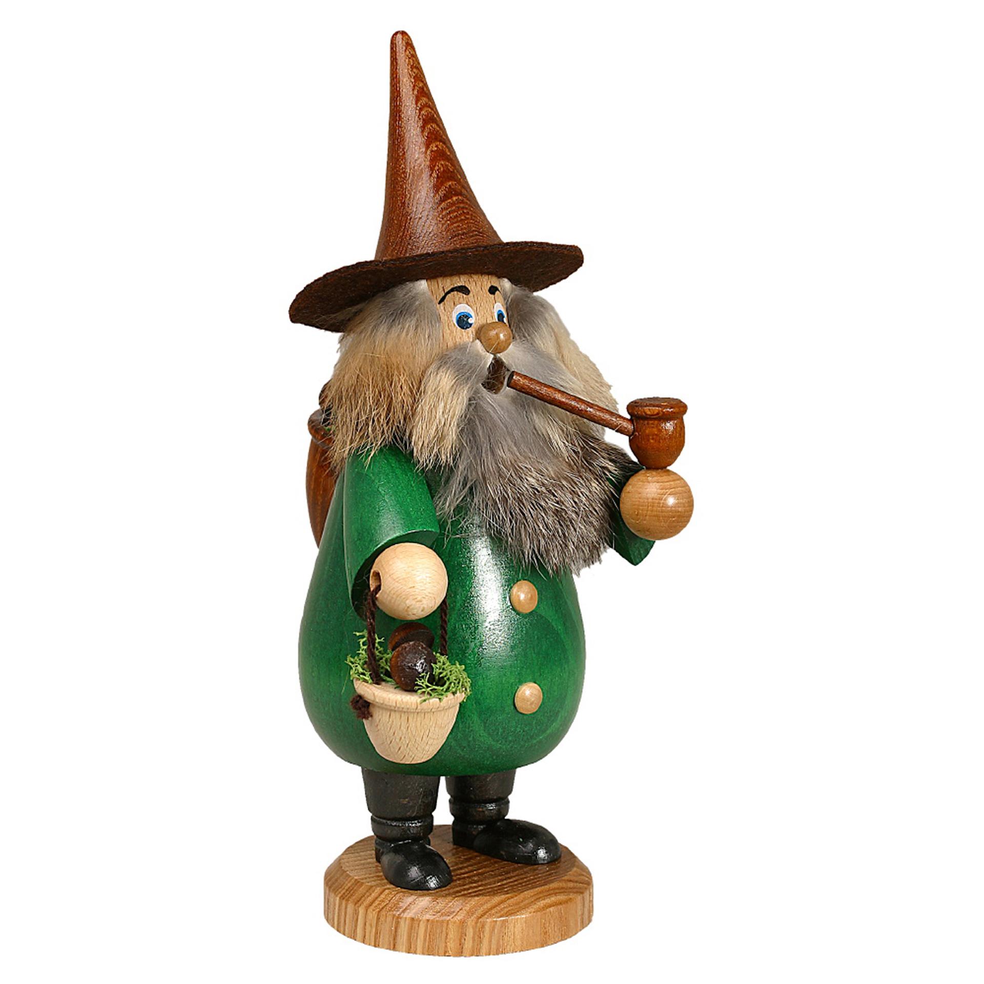 Rauchfigur Wurzelzwerg Pilzsammler, grün