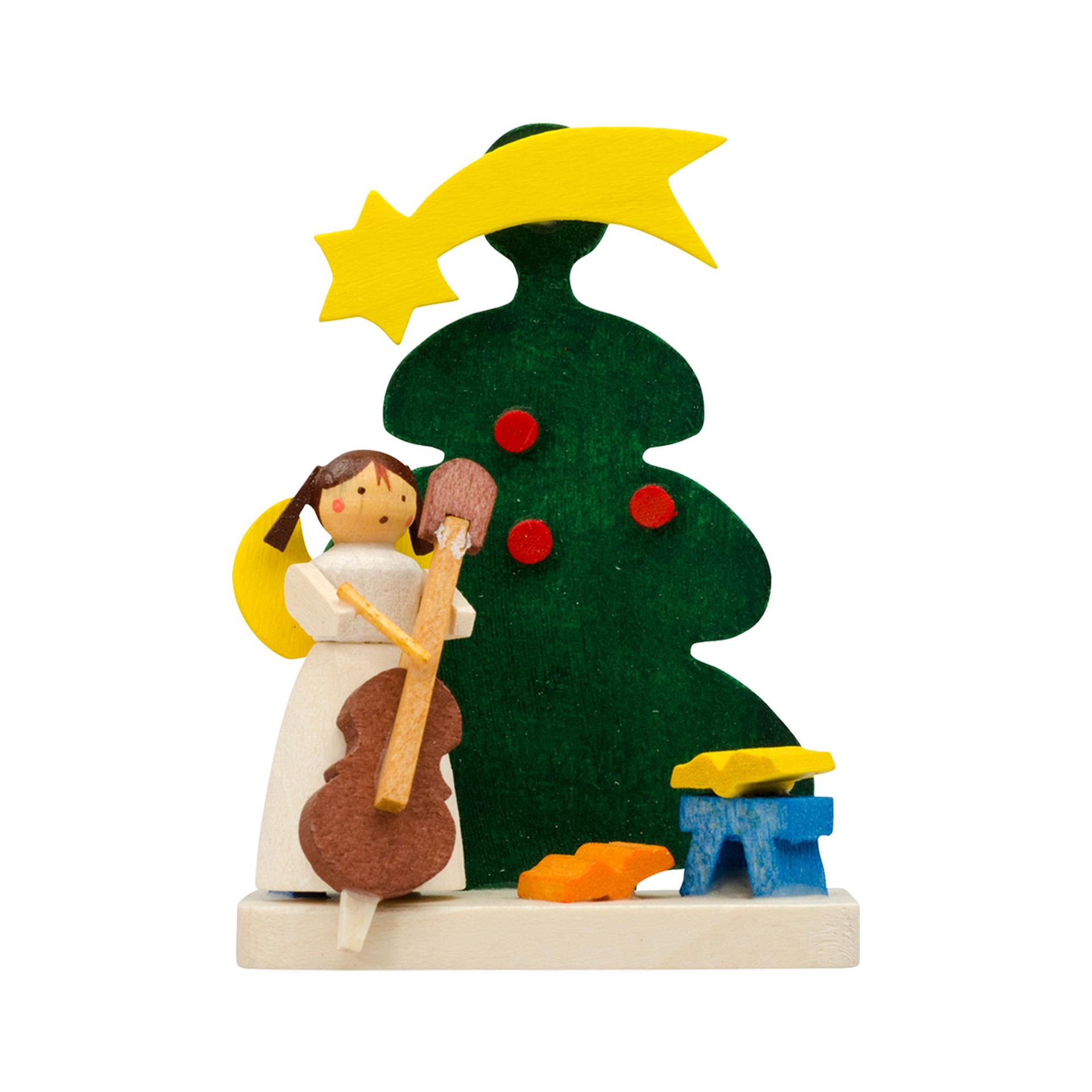 Baumschmuck Baum mit Engel und Cello