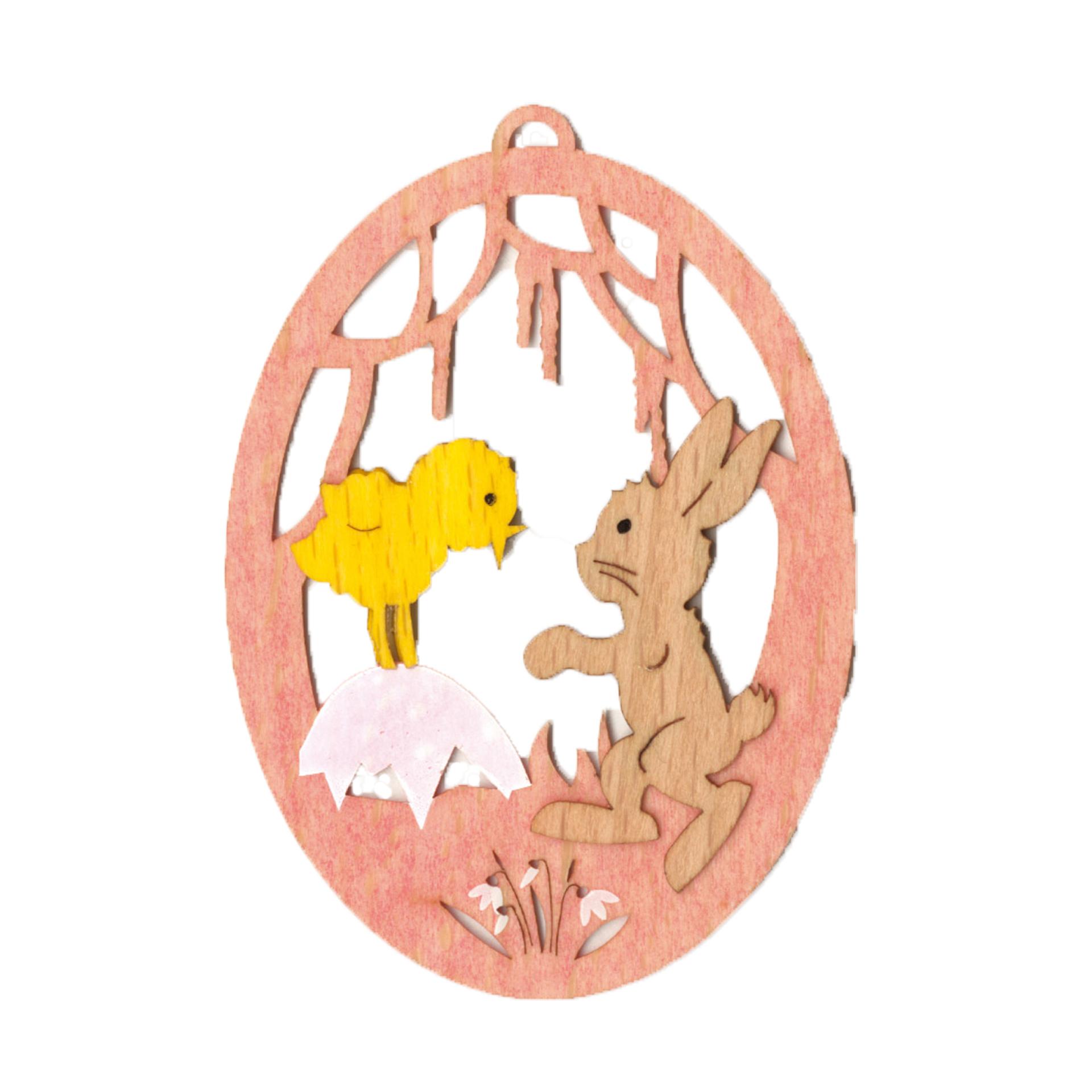 Baumschmuck Ei mit Hase und Küken