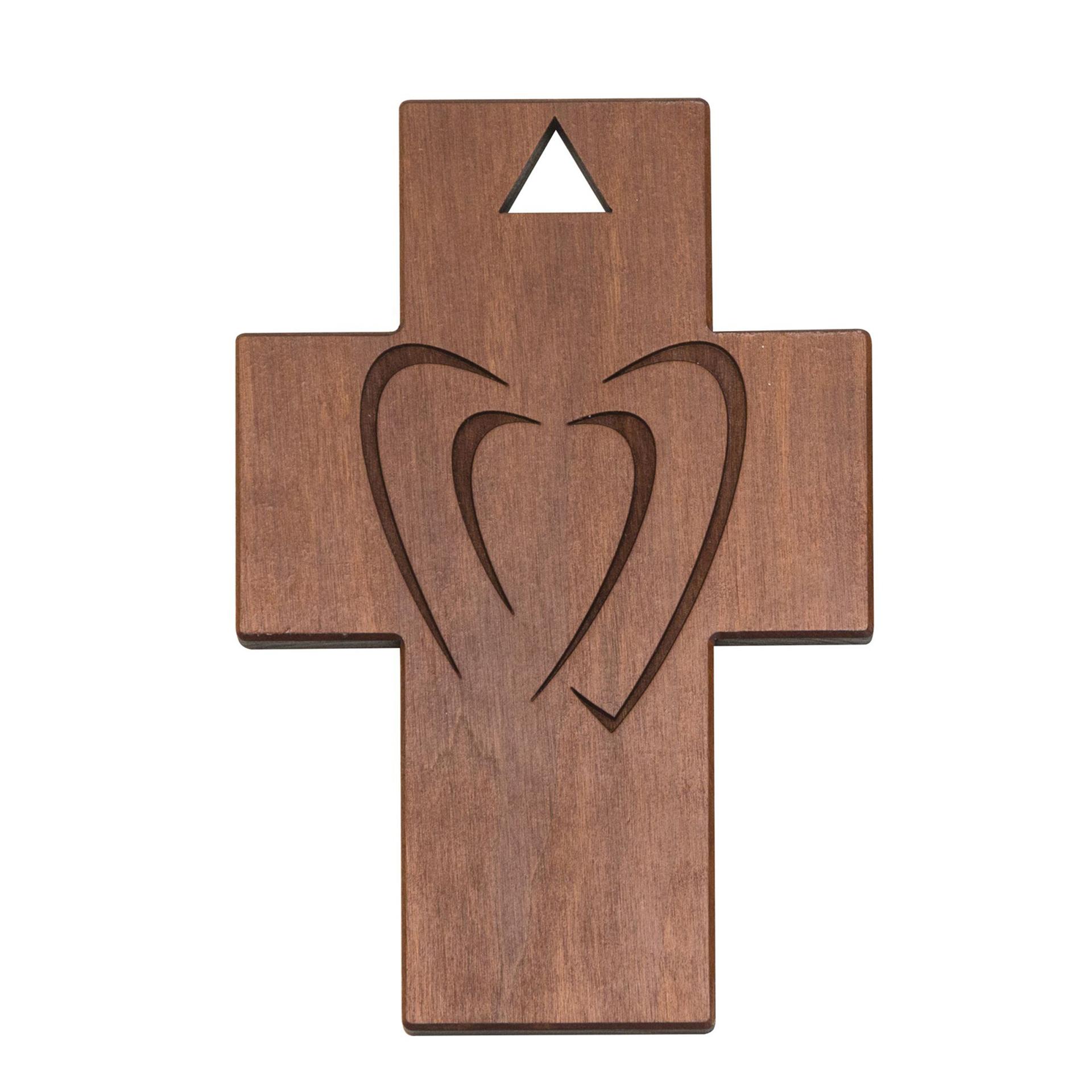 Kreuz mit 2 Herzen, Thermobirke