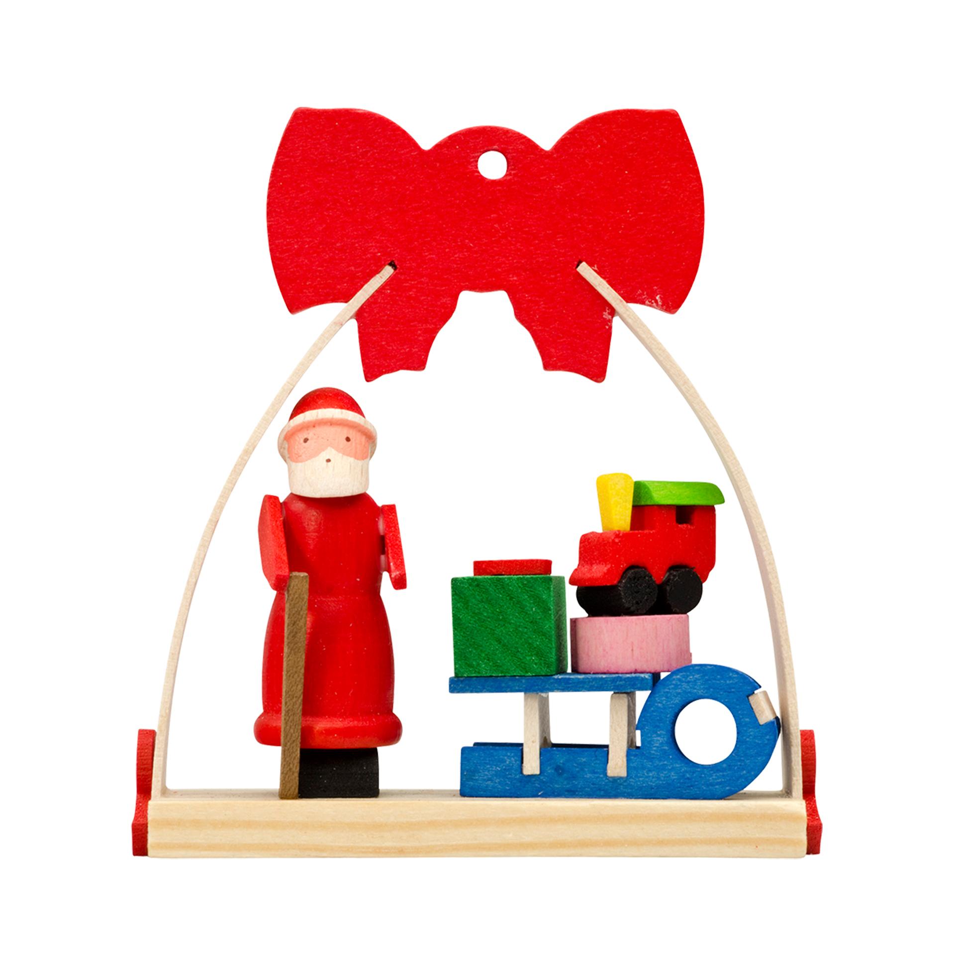 Baumschmuck Weihnachtsmann mit Schlitten