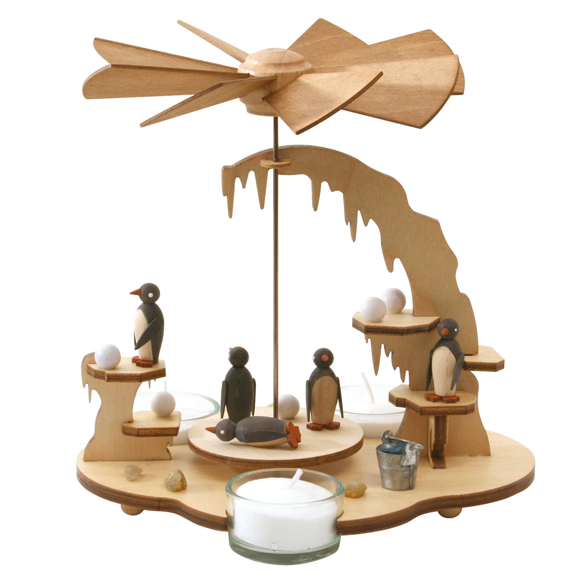 Teelichtpyramide mit Pinguinen