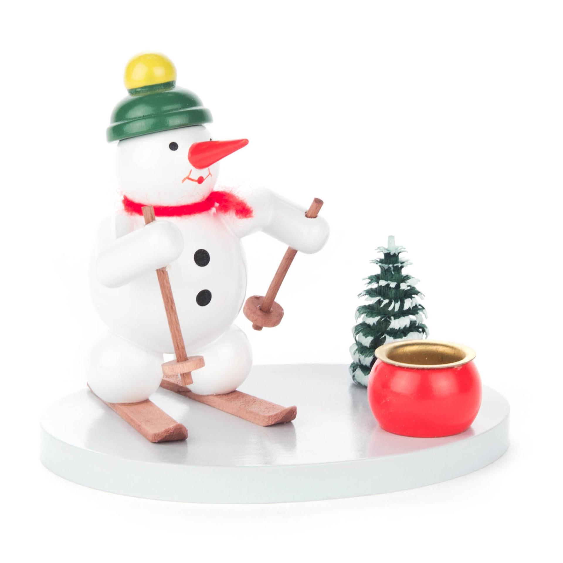 Kerzenhalter Schneemann Skifahrer