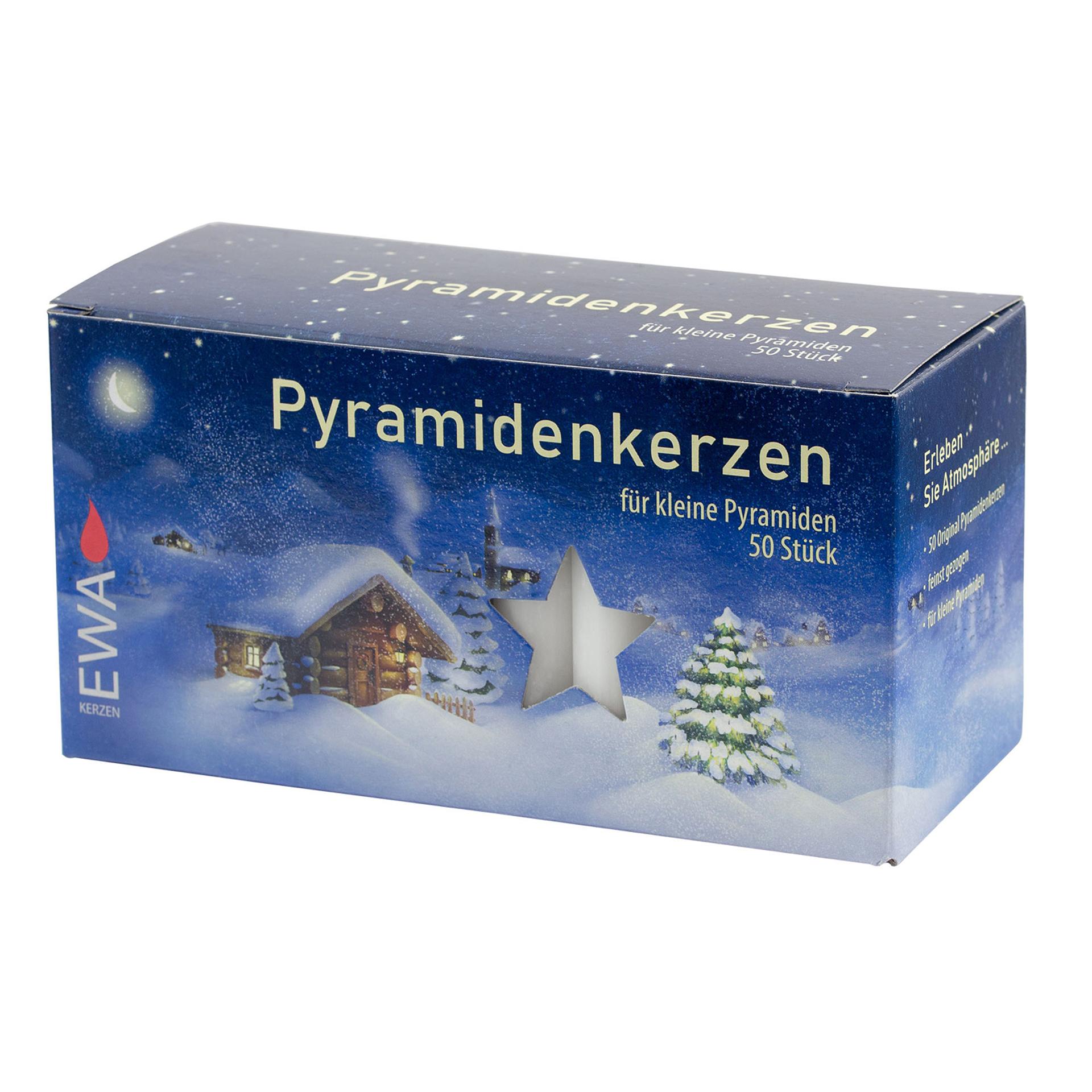 Pyramidenkerzen, 50er Pack/weiß