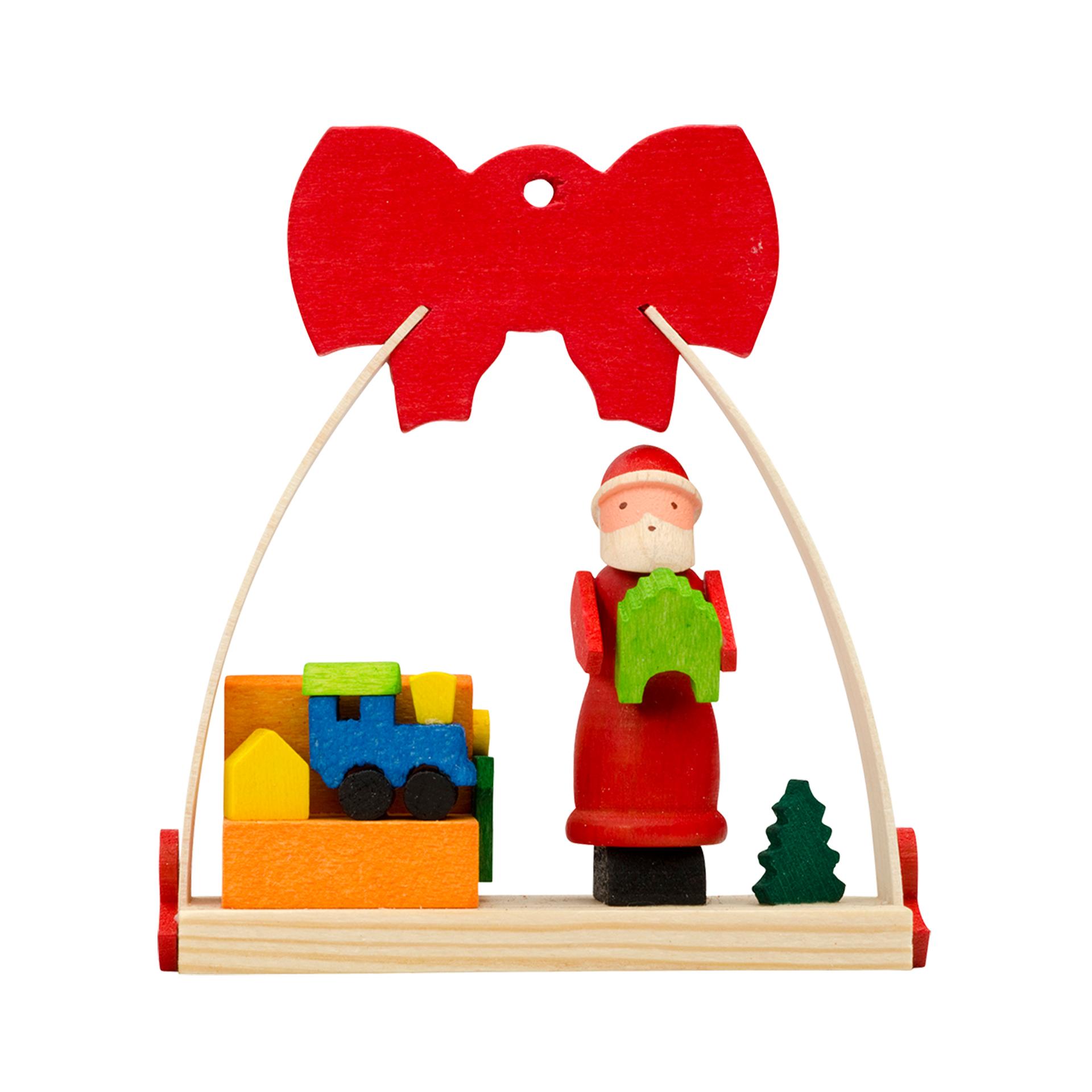 Baumschmuck Weihnachtsmann mit Spielkiste