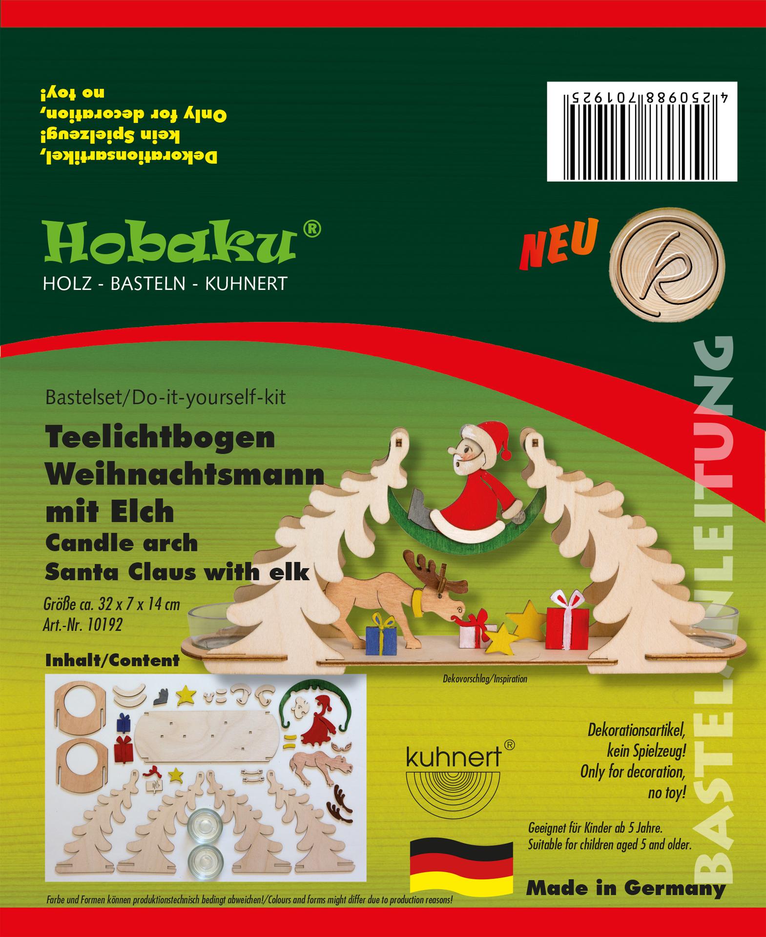 Bastelset Teelichtbogen Weihnachtsmann mit Elch