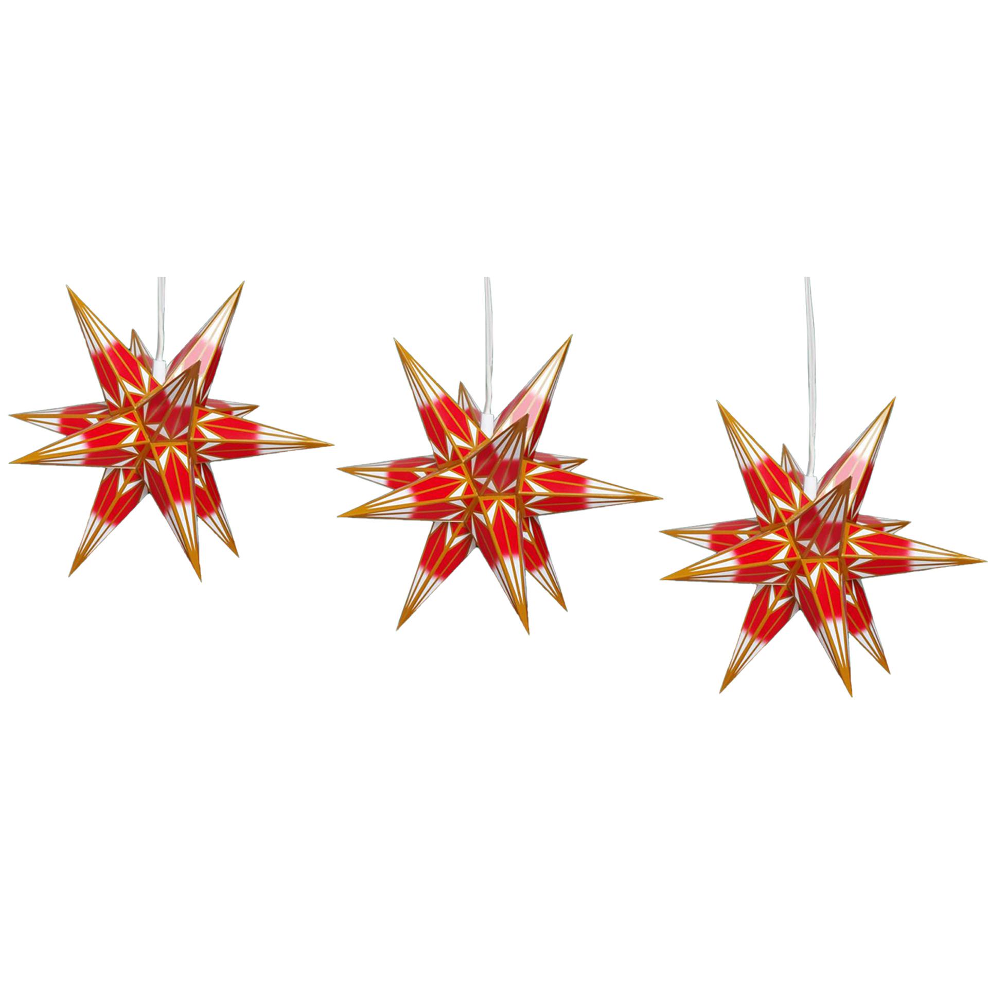 Haßlauer Mini Innensterne, 3er Set rot/gold