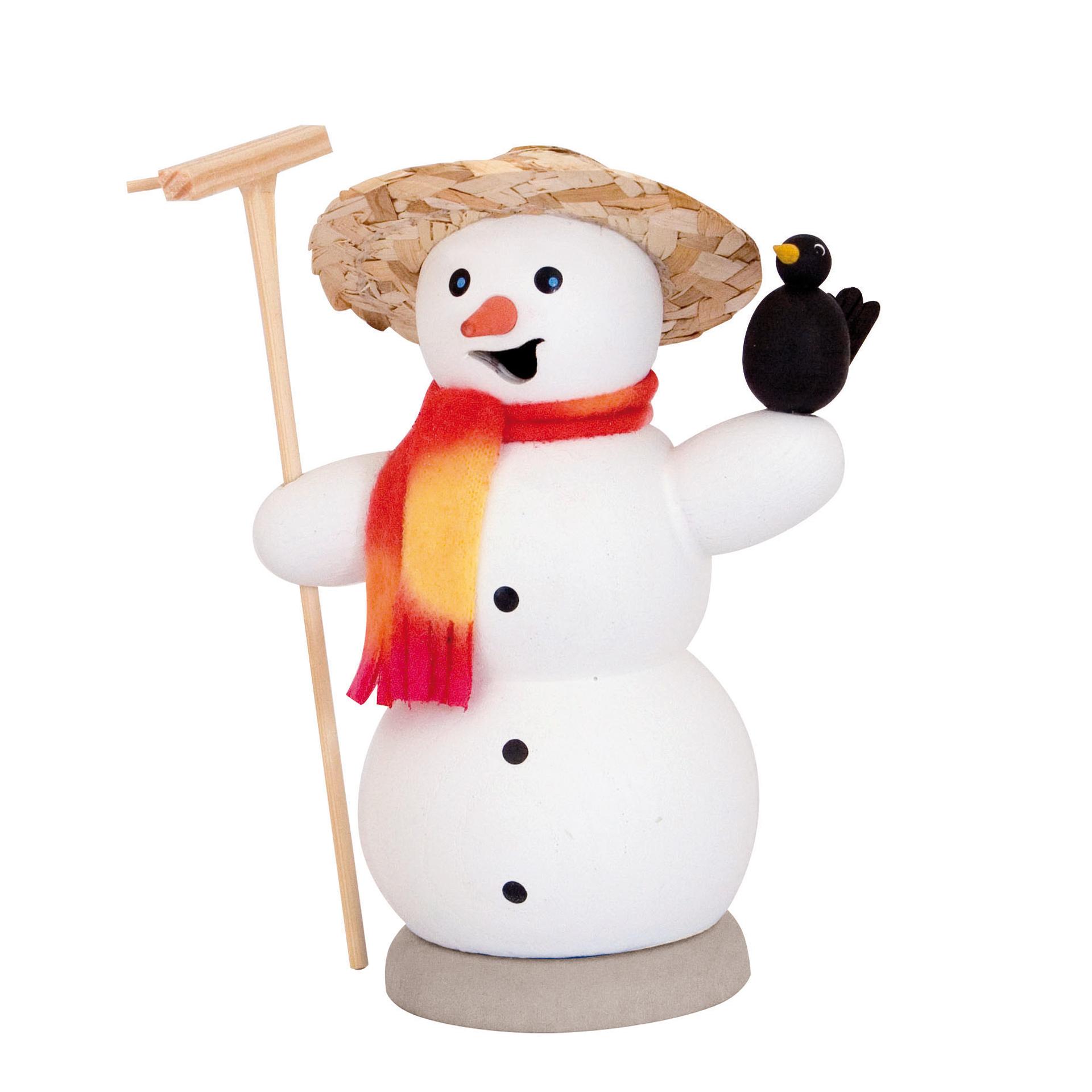 Schneemann mit Rabe