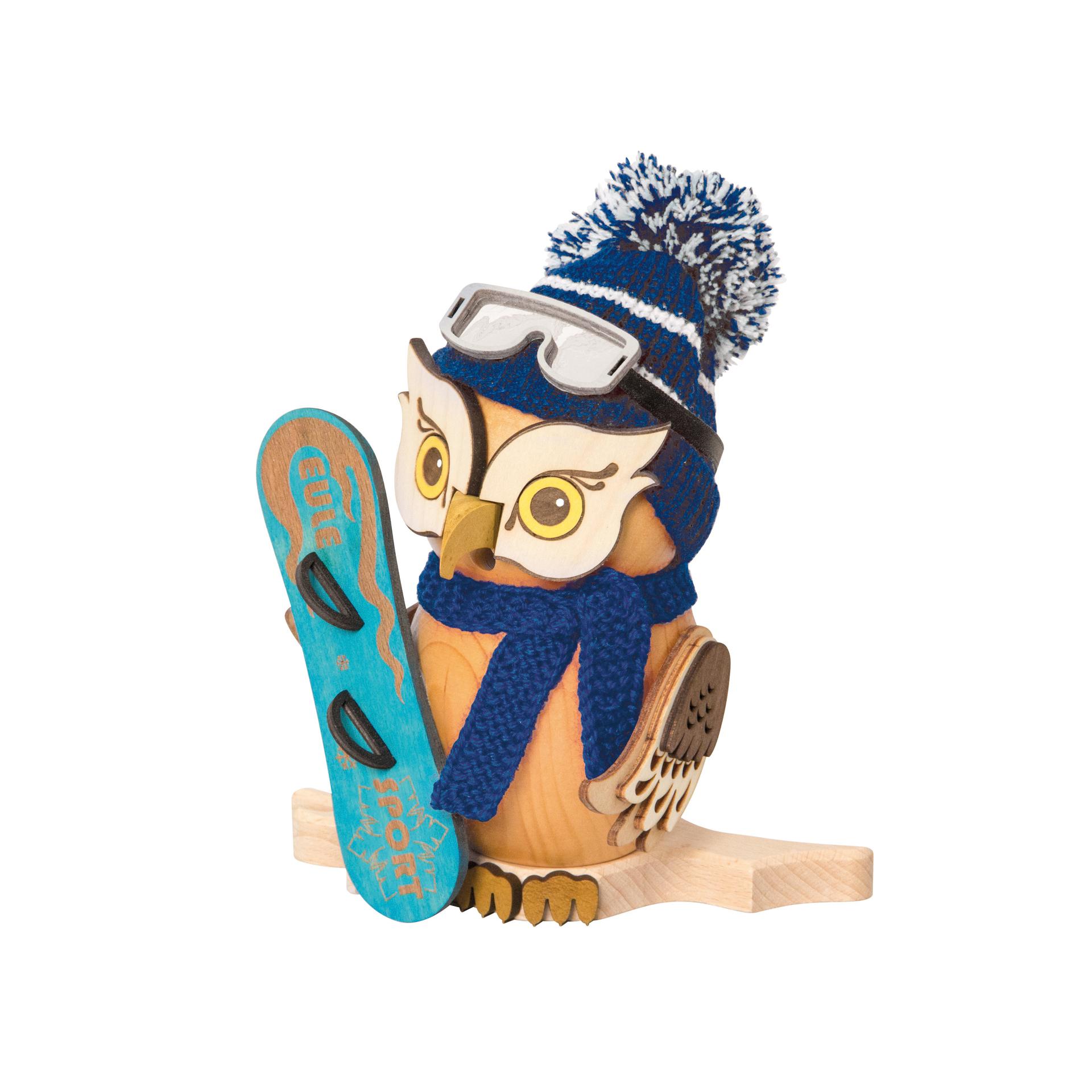Raucheule mit Snowboard