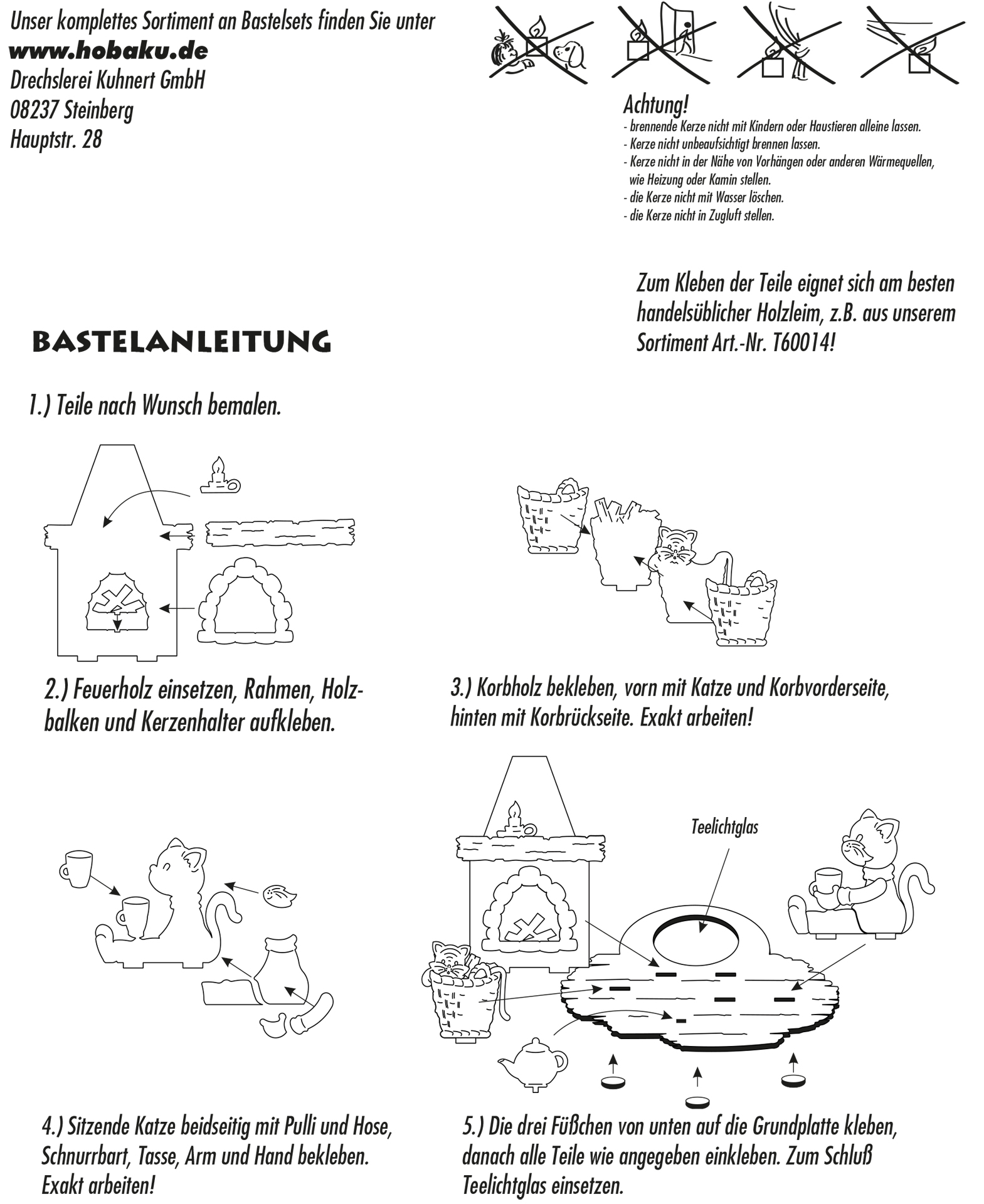 Bastelset Teelichthalter Katzen am Kamin
