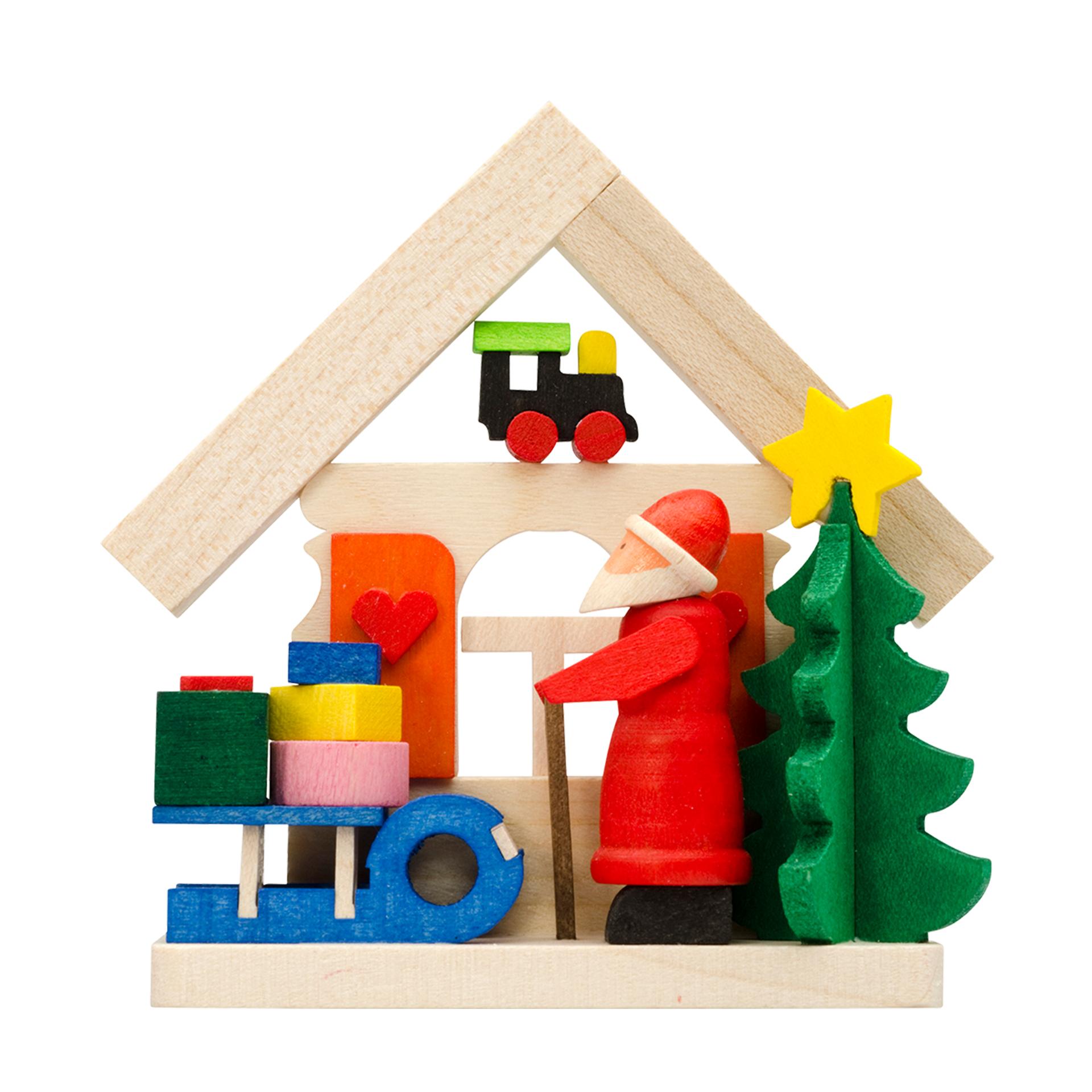 Baumschmuck Haus mit Weihnachtsmann und Schlitten