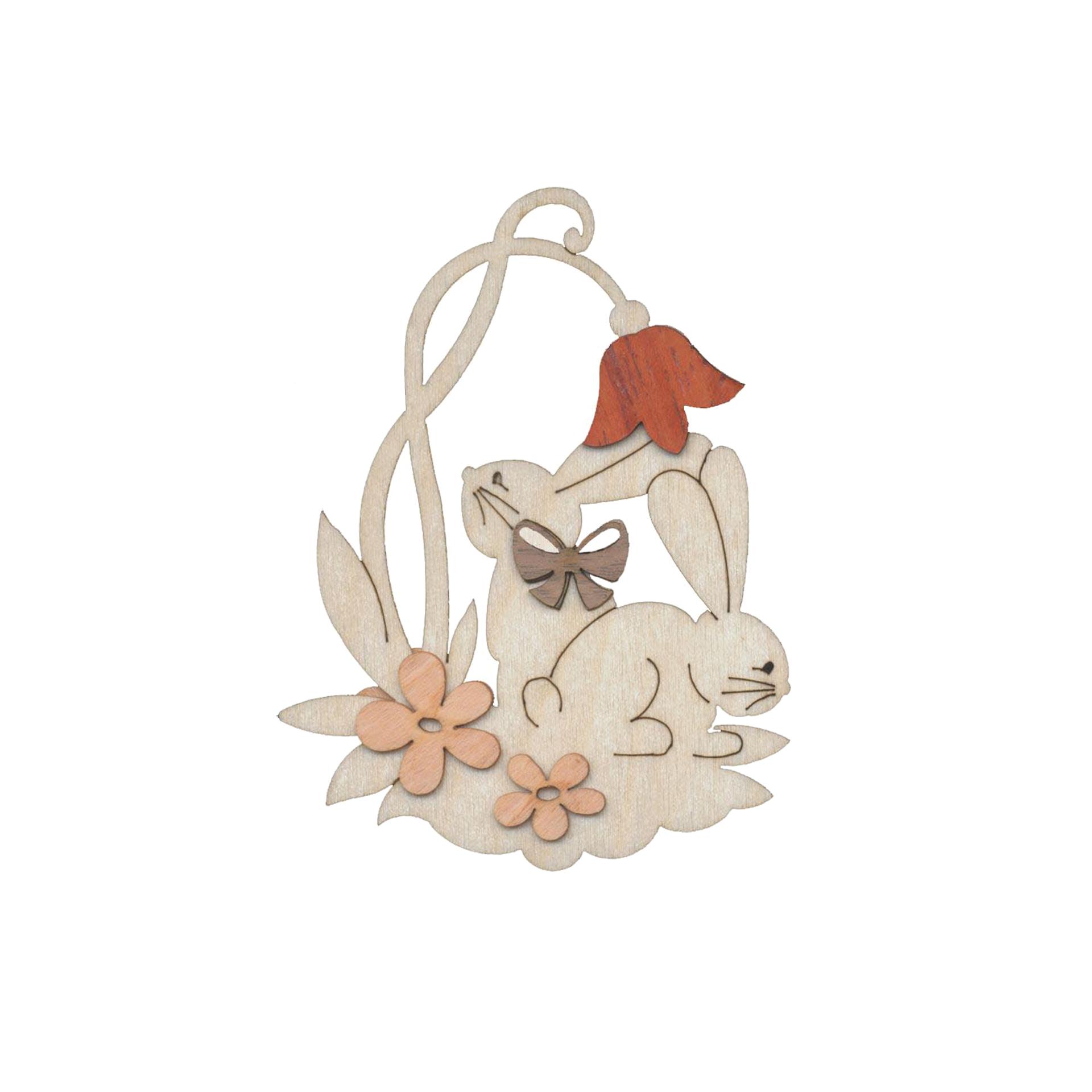 Baumschmuck Zwei Hasen mit Blume