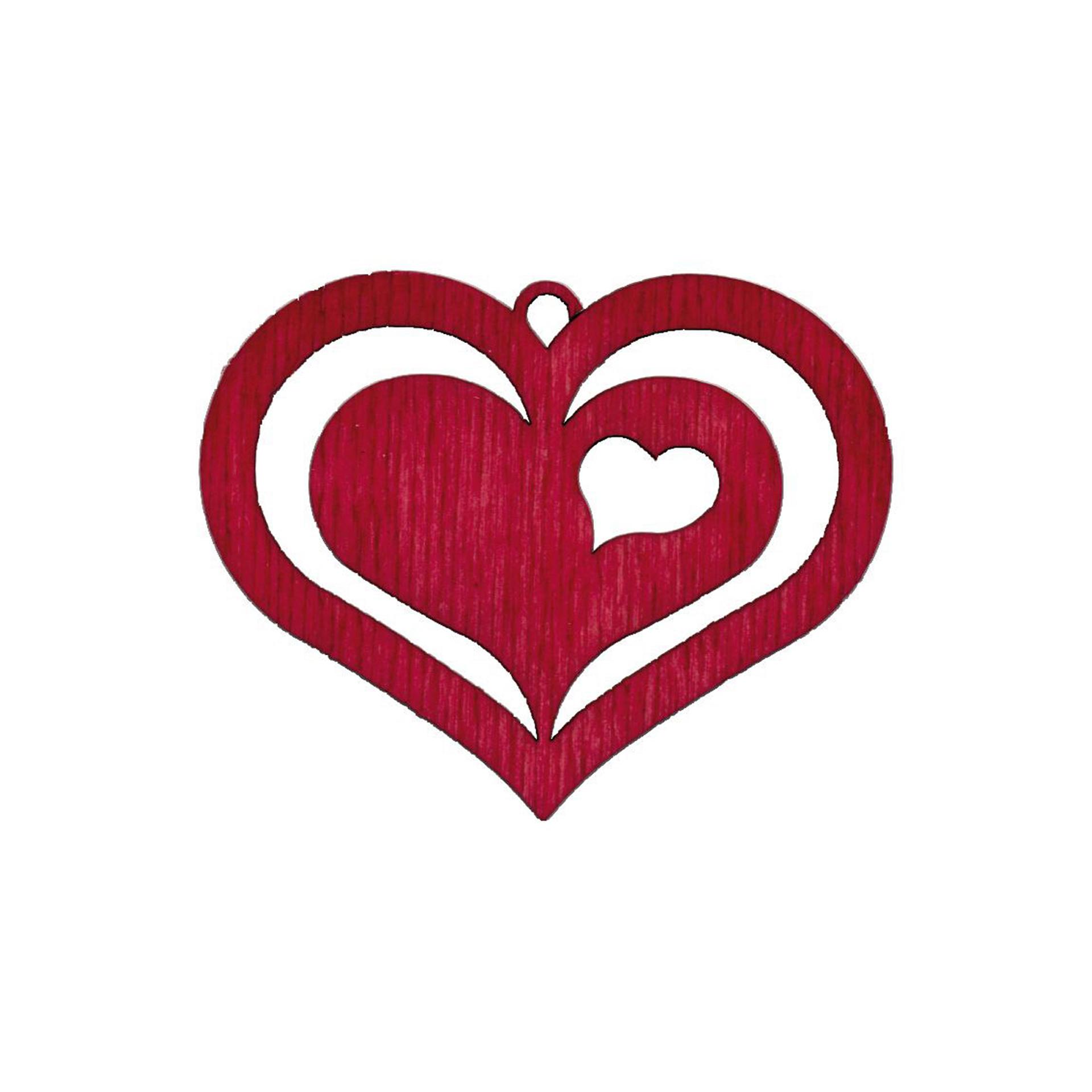 Baumschmuck Herz in Herz rot
