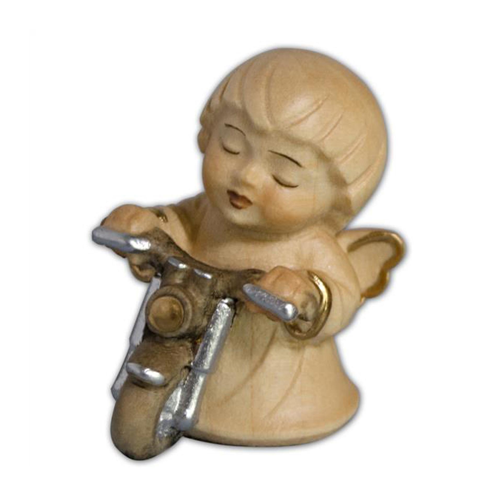 Engel mit Motorrad, alabaster