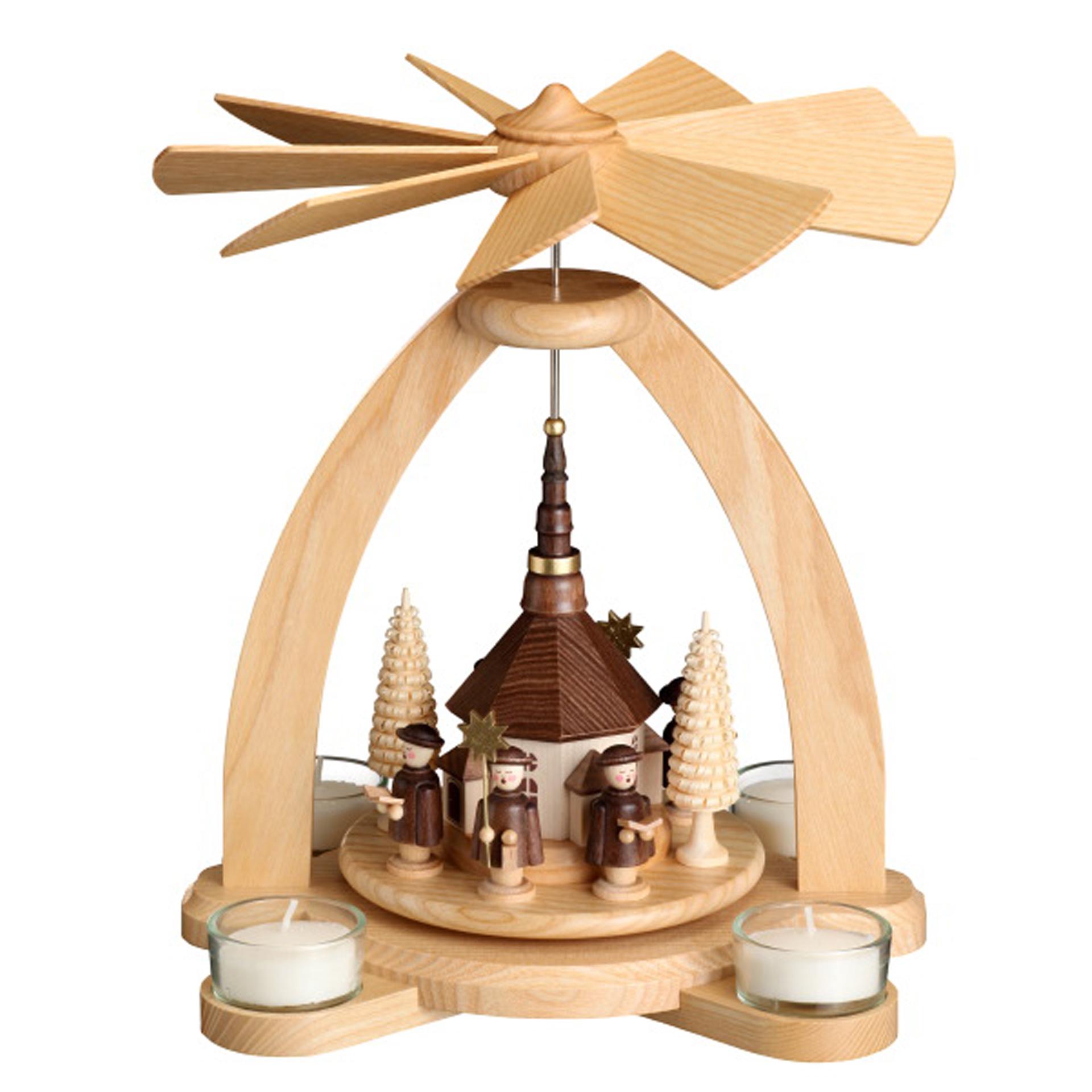 Pyramide mit Seiffener Kirche, für Teelichte