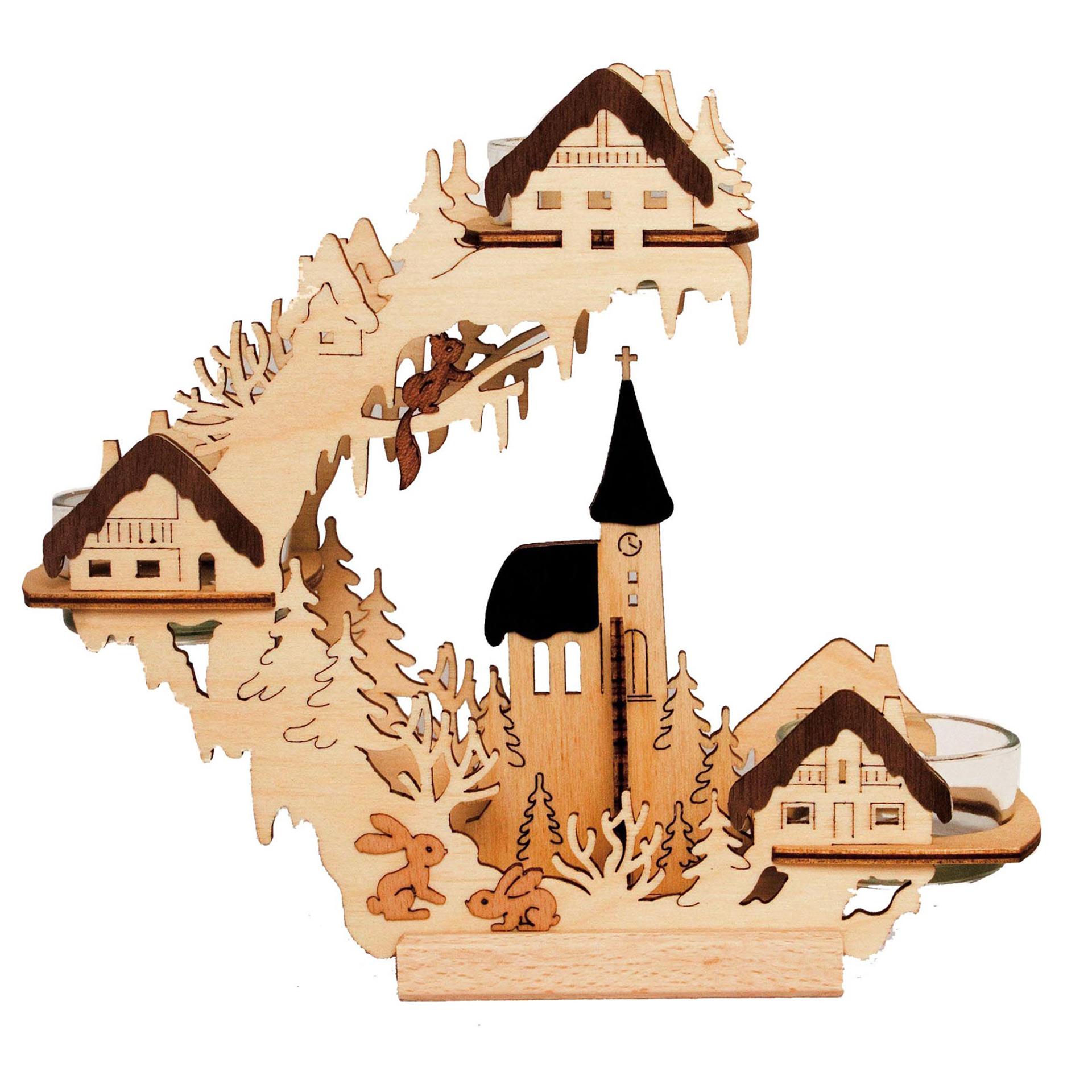 Teelichtkranz Kirche und Häuser