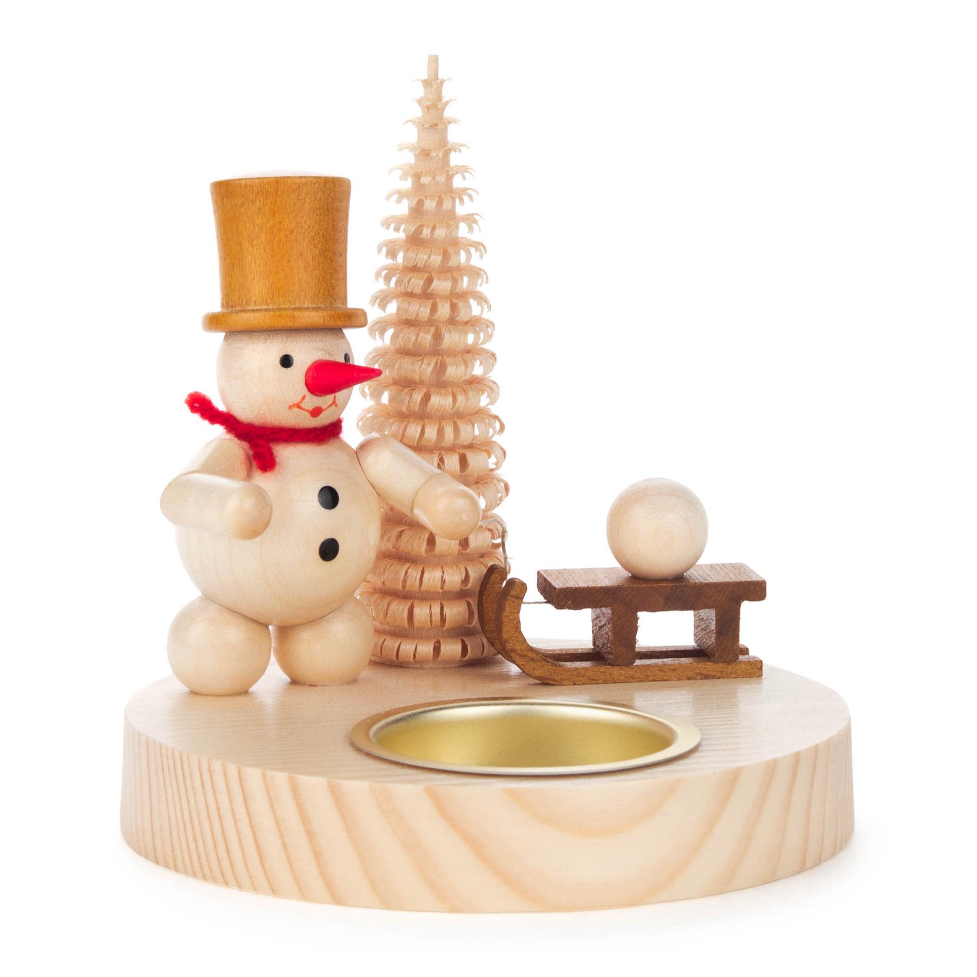 Kerzenhalter Schneemann mit Schlitten
