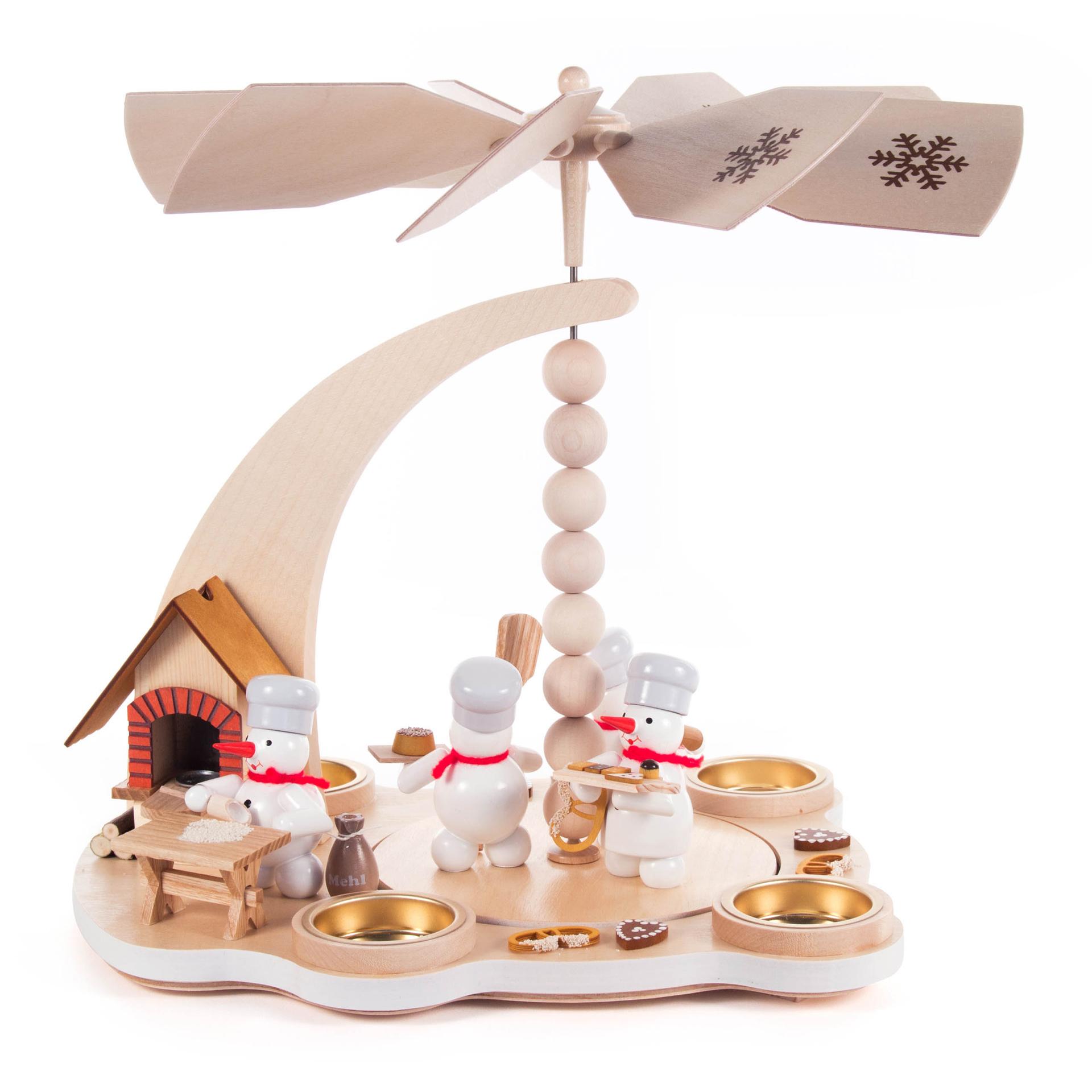 Pyramide Schneemann-Weihnachtsbäckerei, für Teelichte/mit Rauchofen