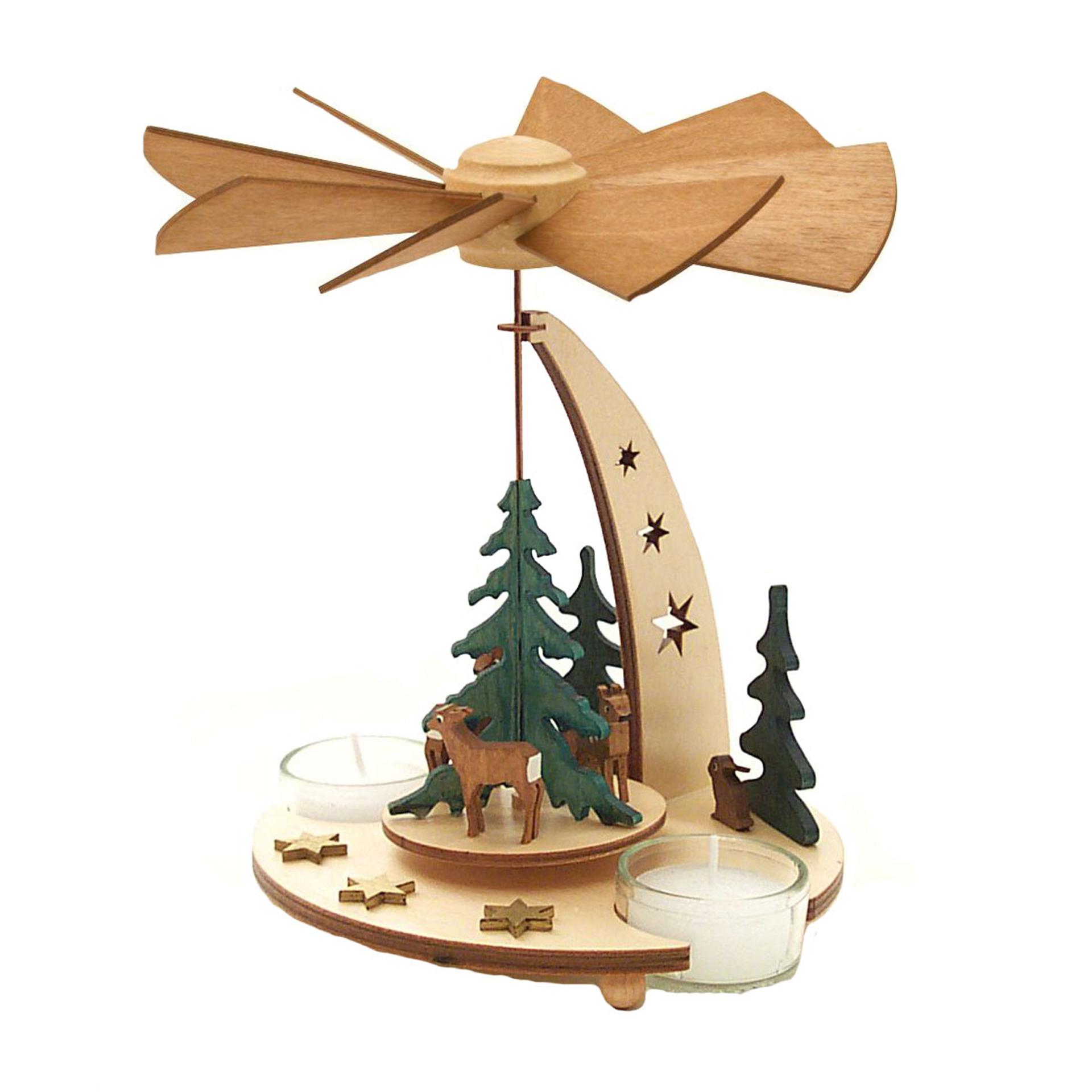 Teelichtpyramide mit Waldtieren