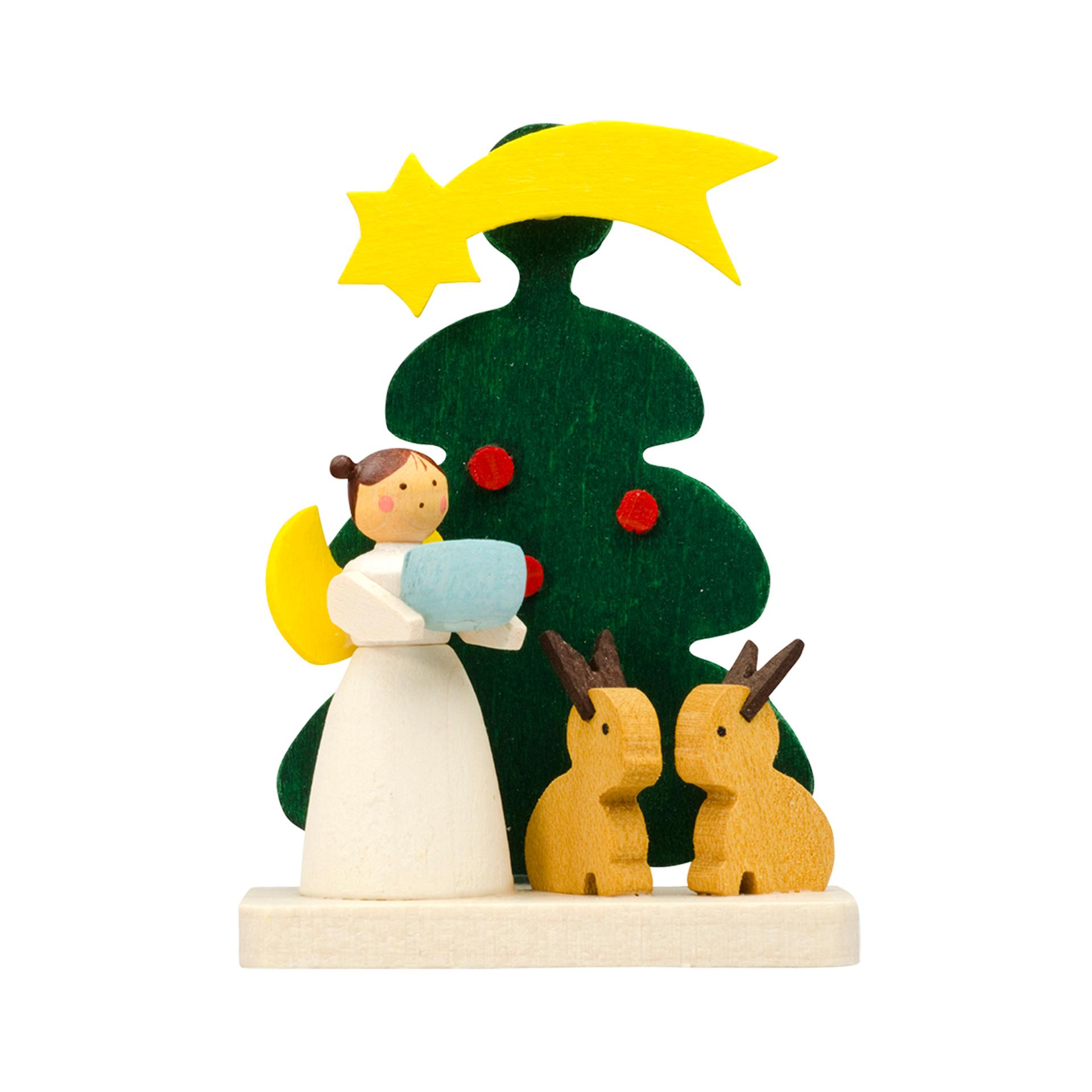 Baumschmuck Baum mit Engel und Hasen
