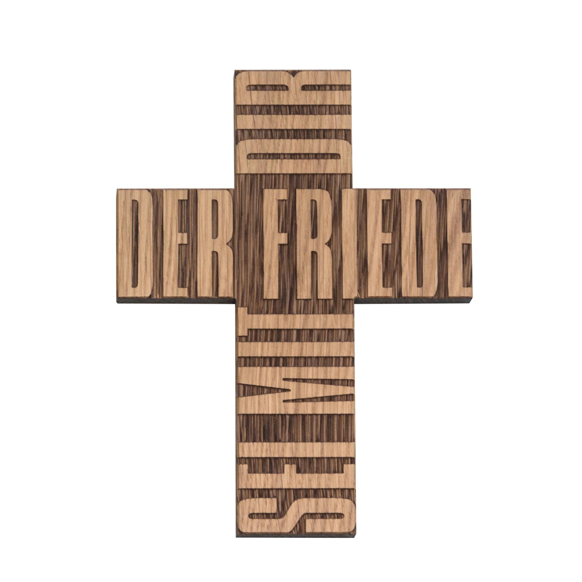 """Kreuz """"Der Friede sei mit dir"""", Eiche"""