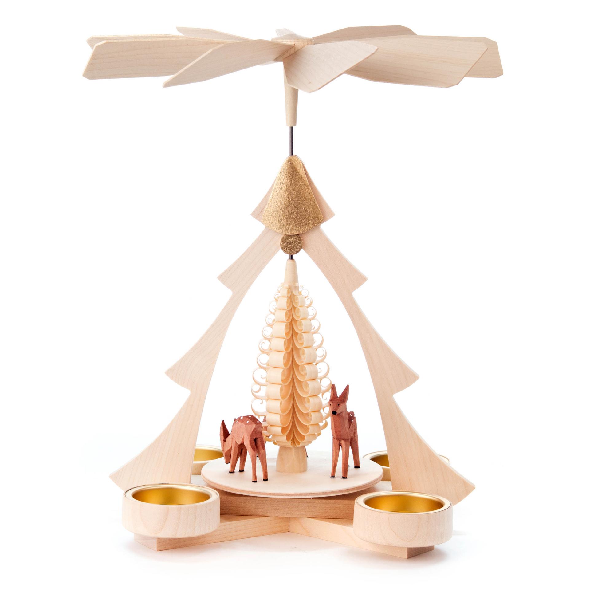 Pyramide mit Rehen, für Teelichte