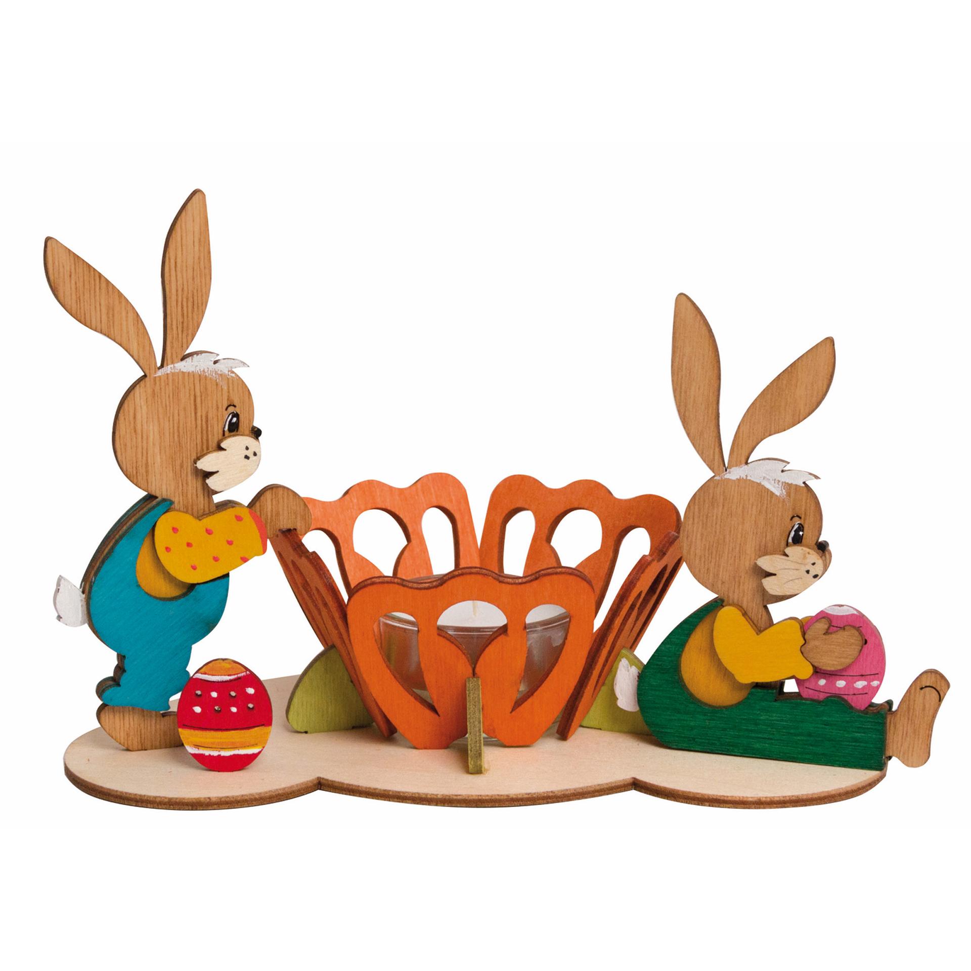 Bastelset Teelichthalter Osterhasen Paar