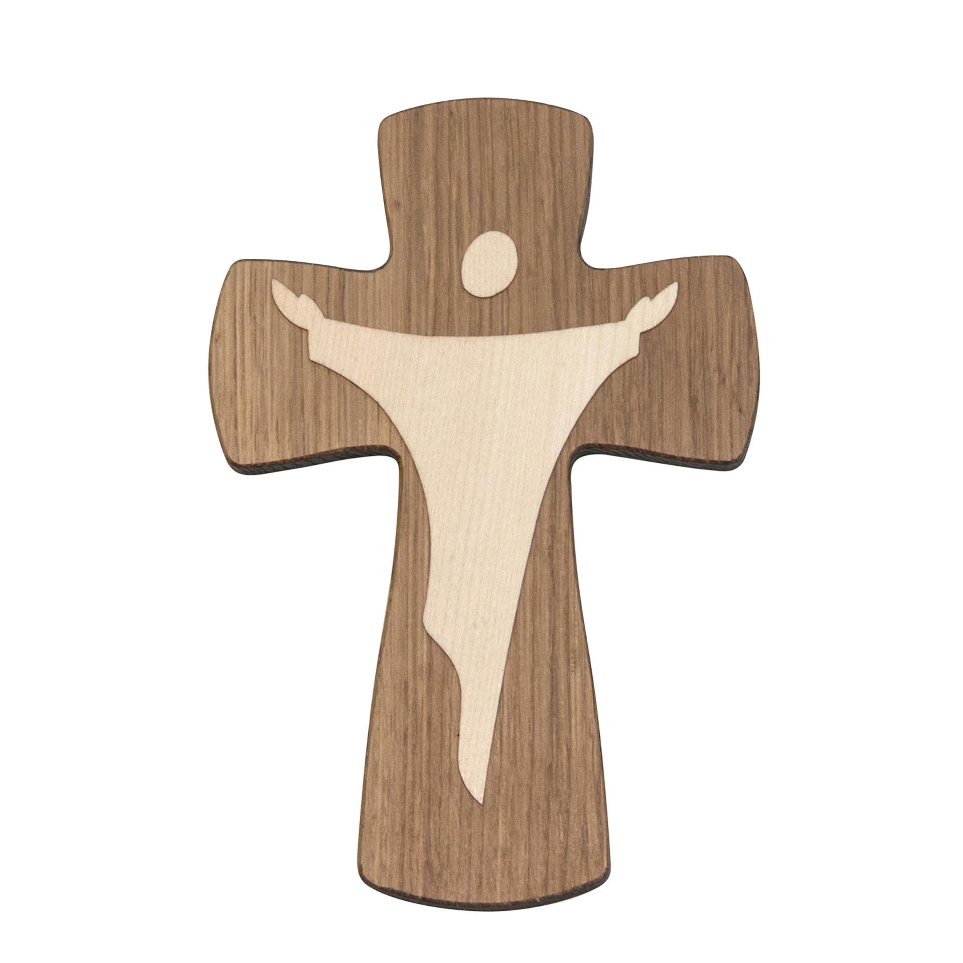 Kreuz mit Christus, Eiche/Ahorn