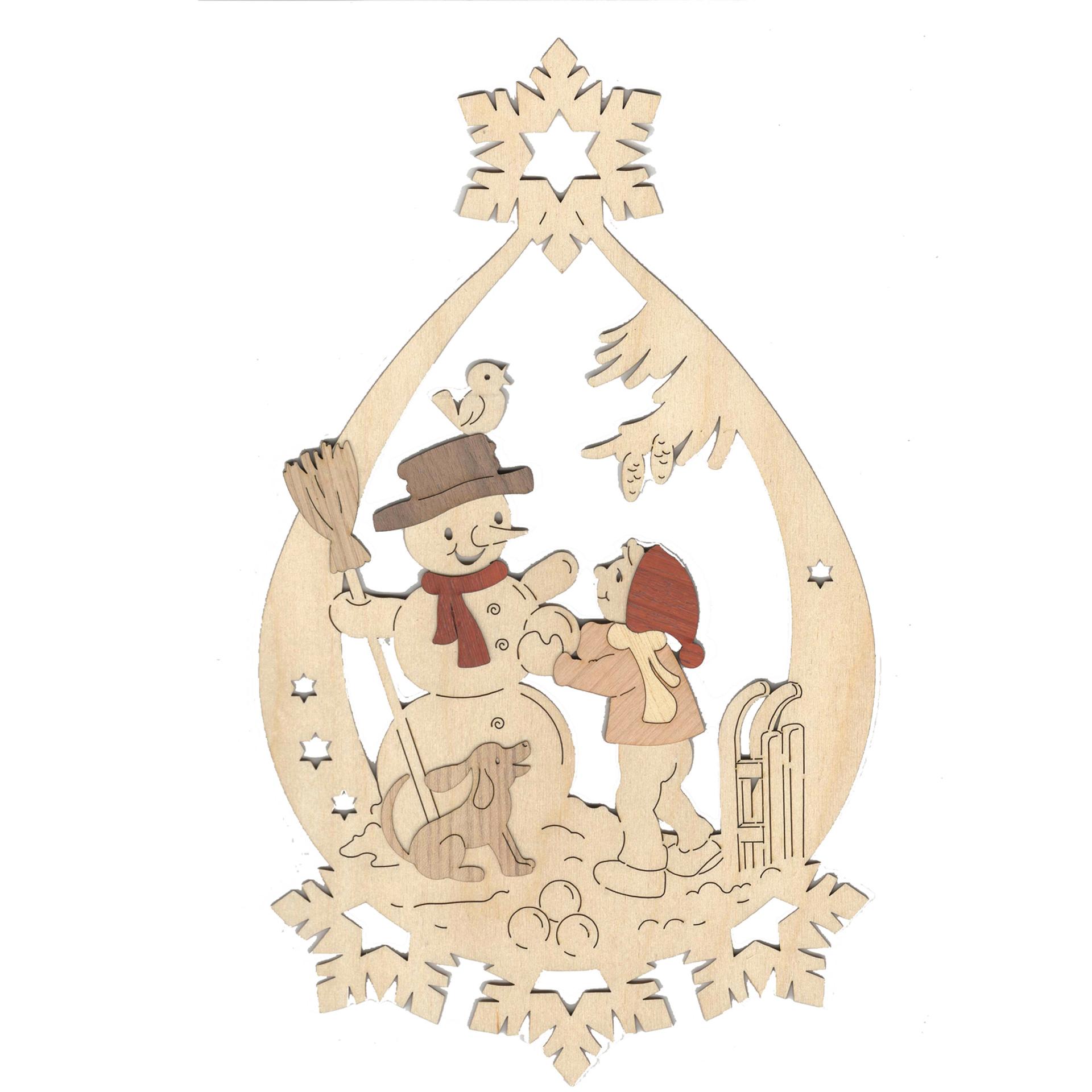 Fensterbild Winterkinder mit Schneemann