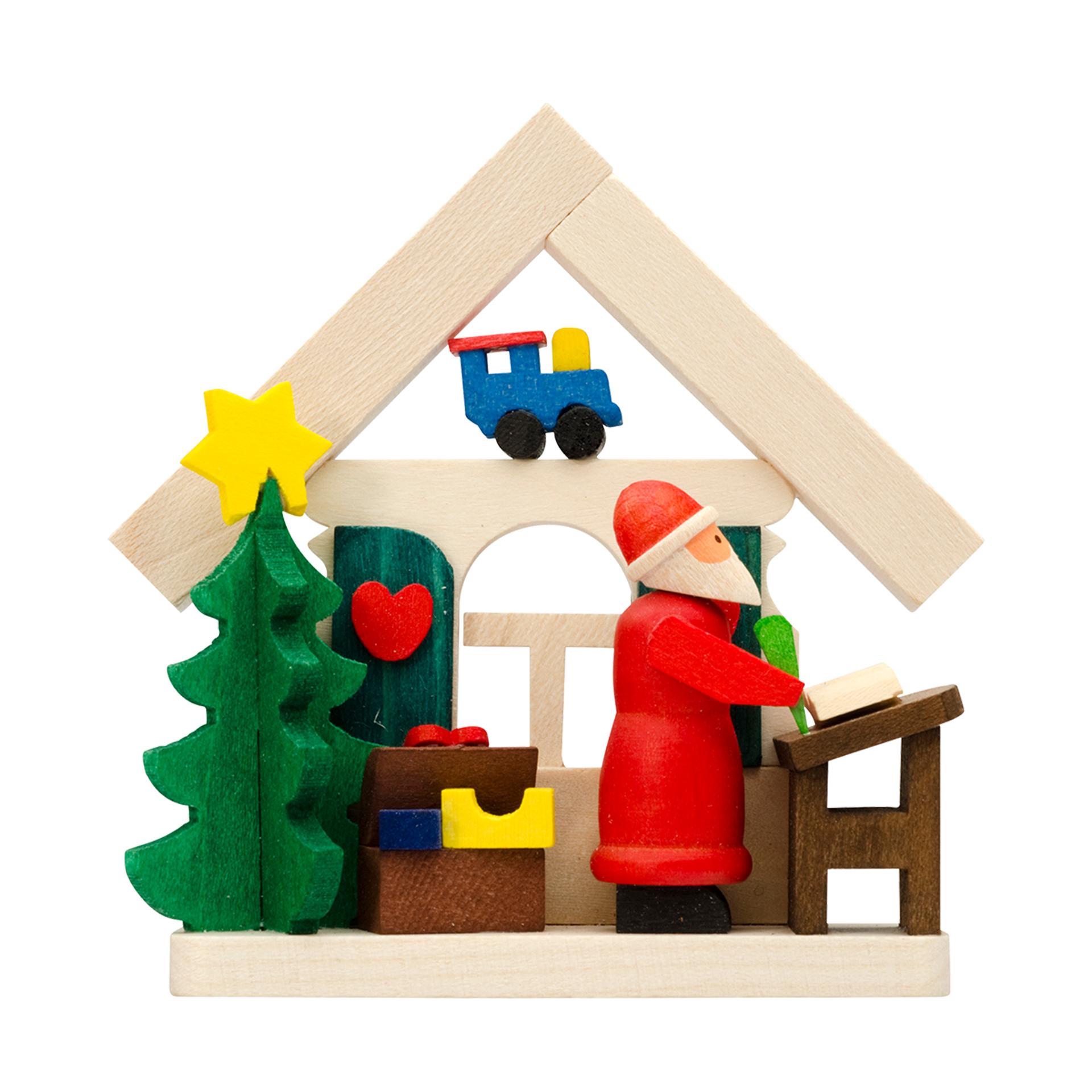 Baumschmuck Haus mit Weihnachtsmann und Wunschzettel