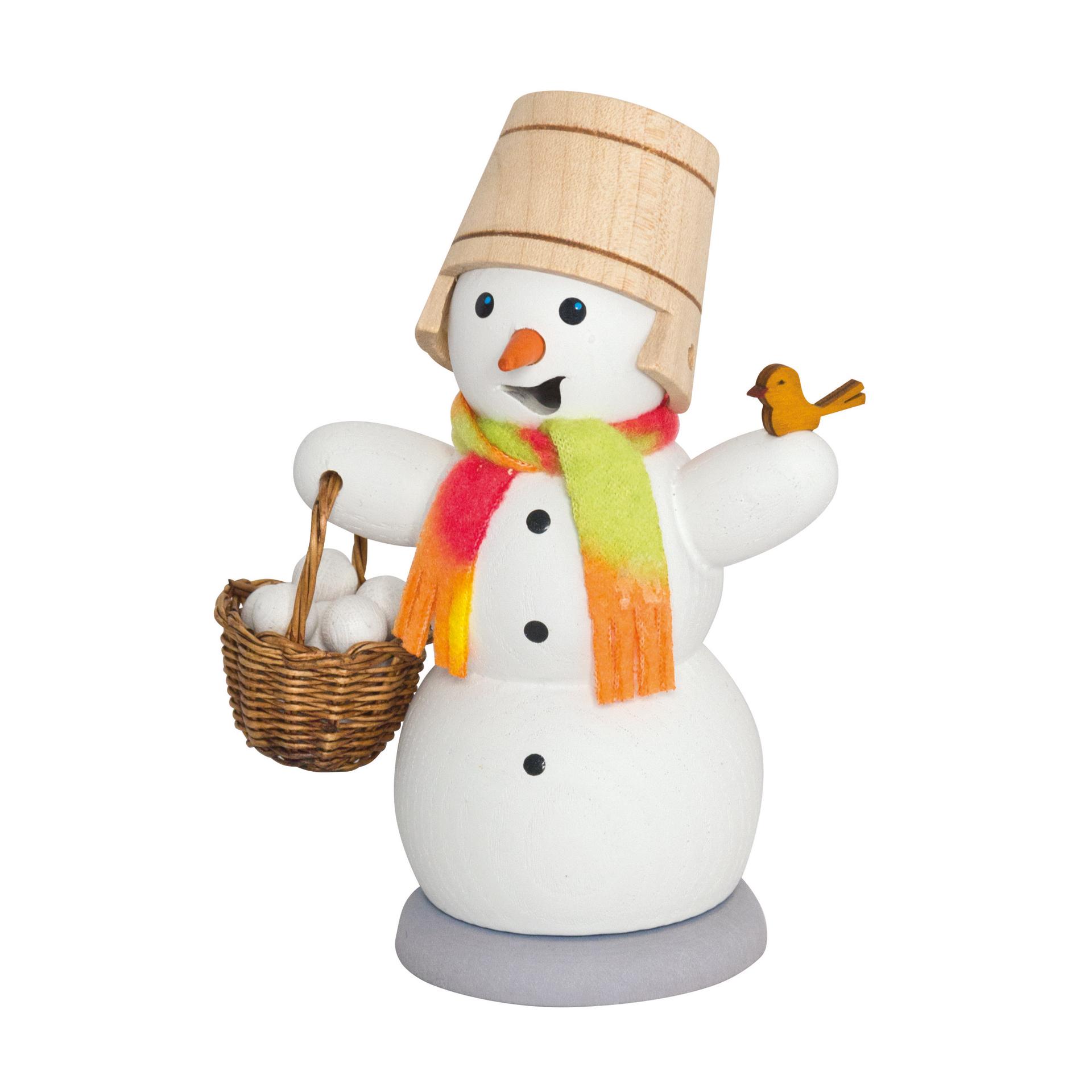 Schneemann mit Schneeballkorb