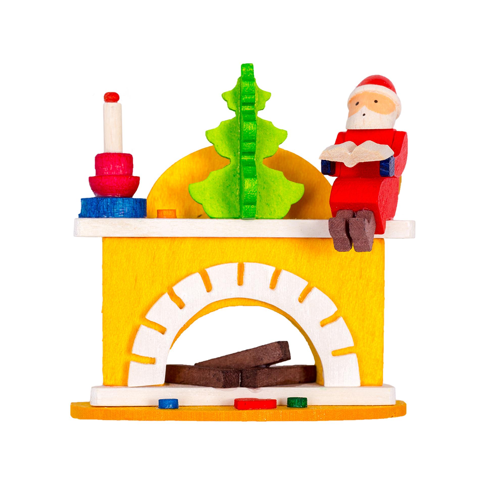 Baumschmuck Kamin mit Weihnachtsmann