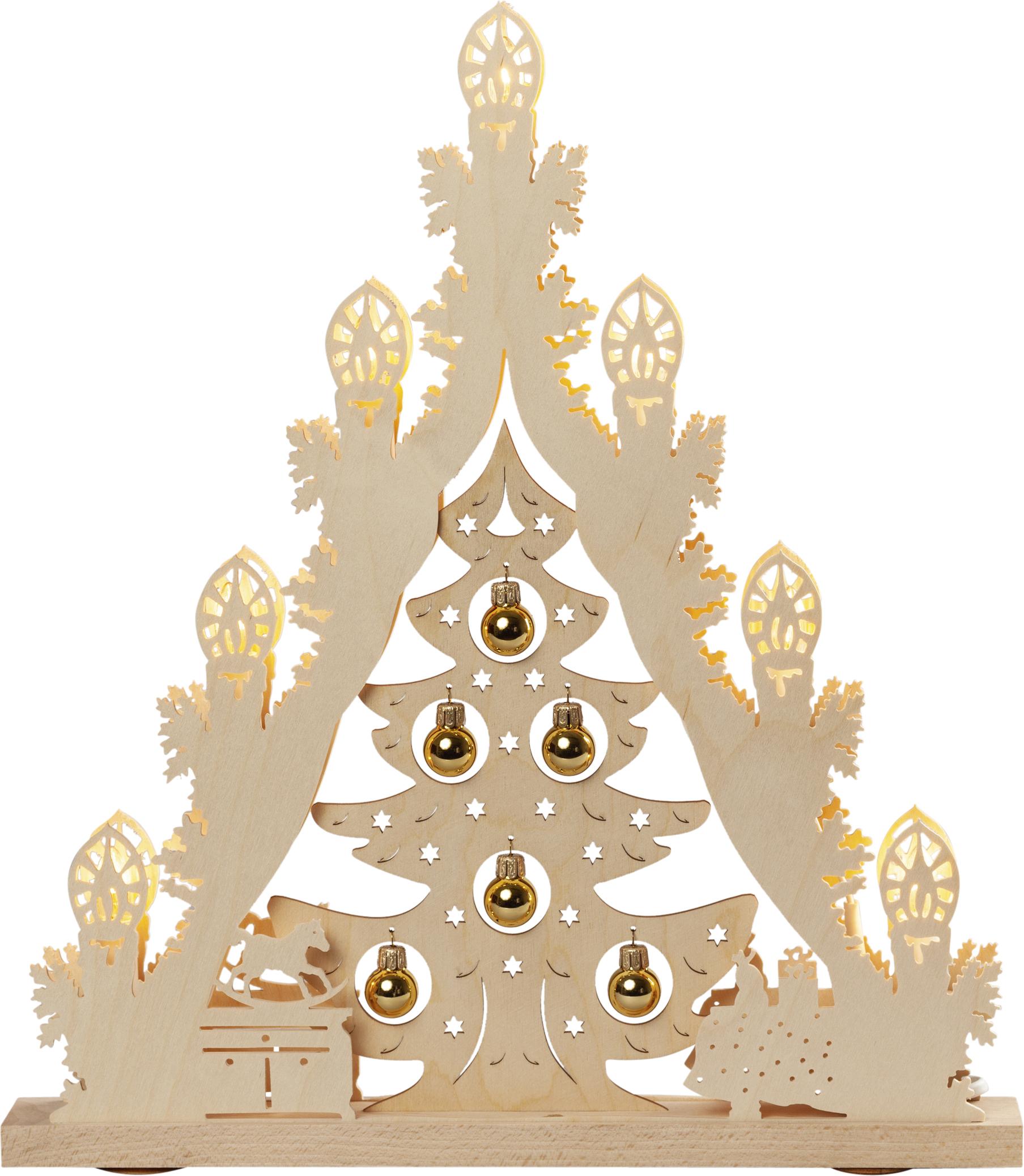 Lichterspitze Baum mit goldenen Kugeln, LED