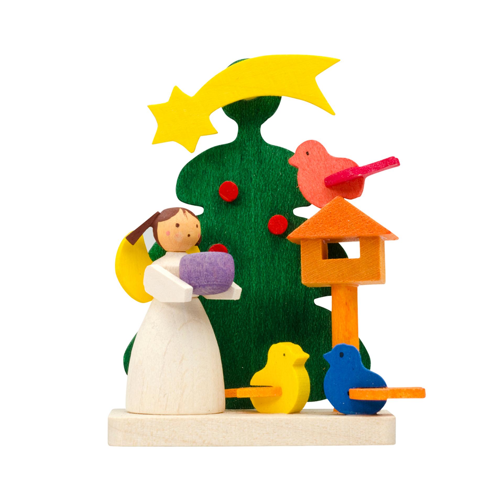 Baumschmuck Baum mit Engel und Vogelfütterung