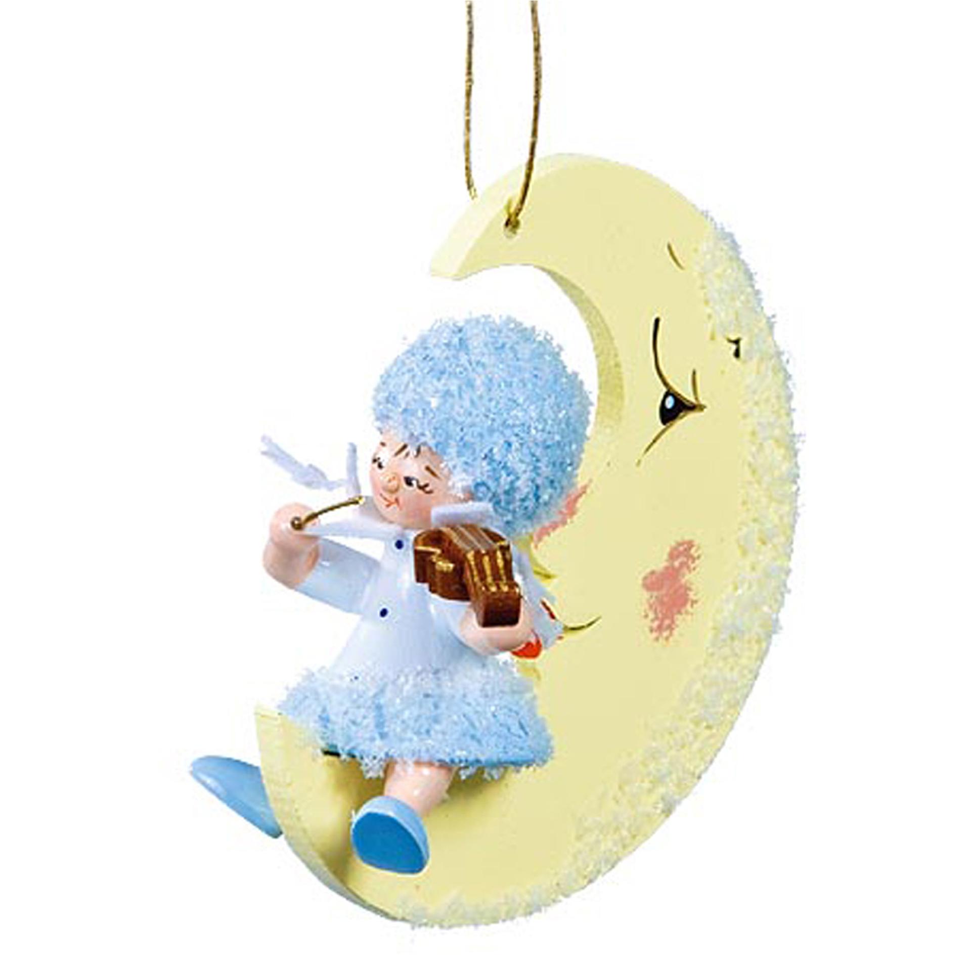 Baumschmuck Schneeflöckchen mit Geige auf dem Mond