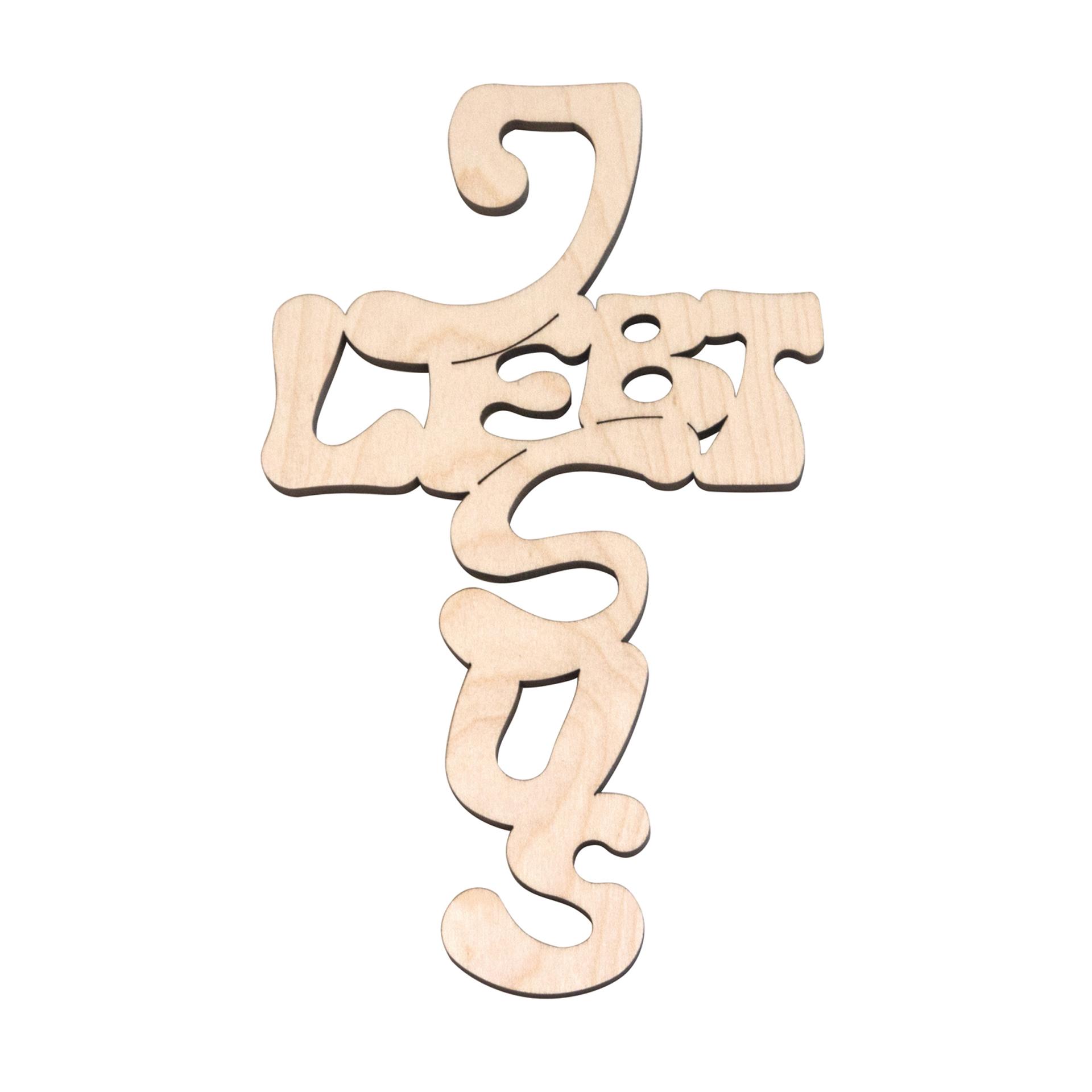 """Kreuz """"Jesus lebt"""", Ahorn"""