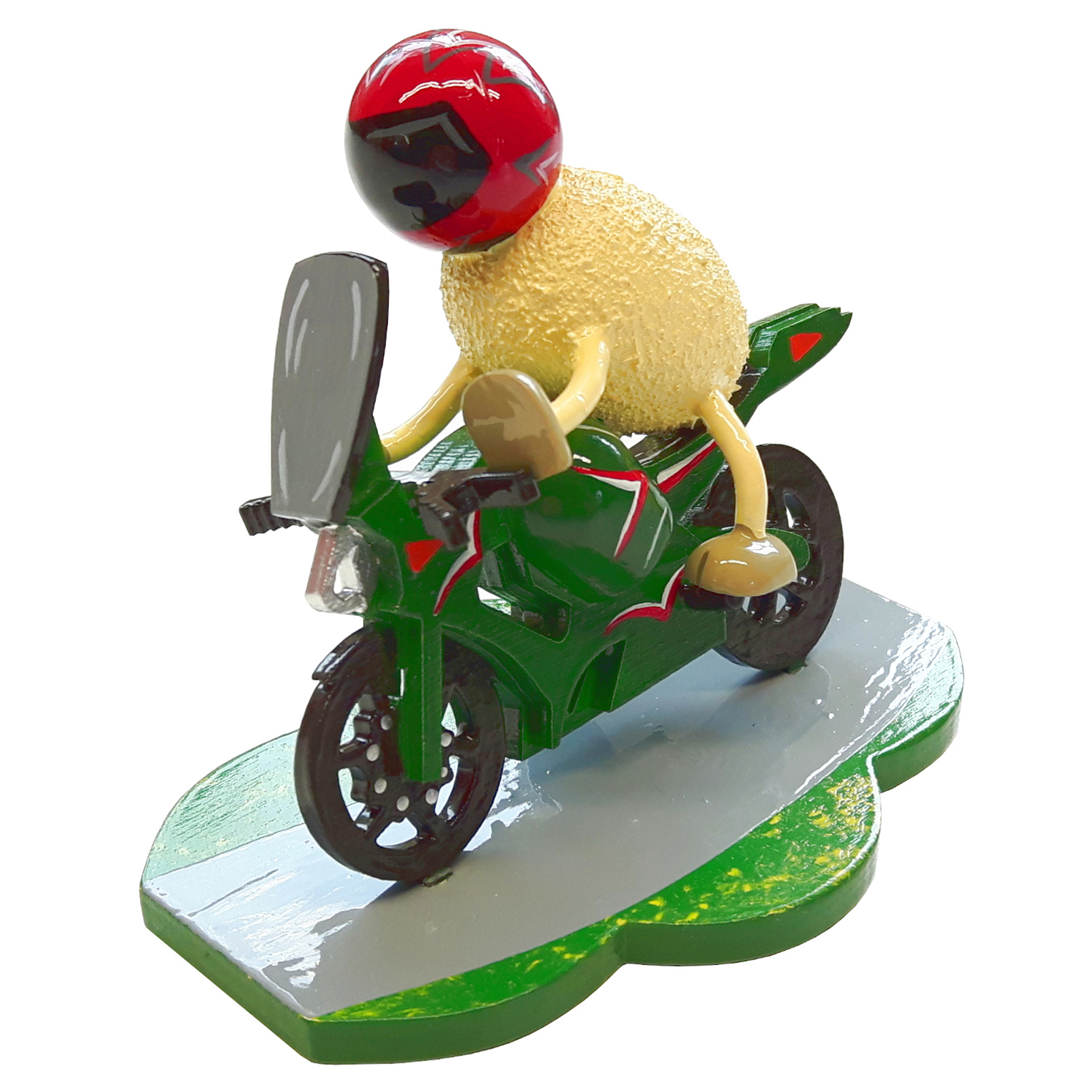 Schaf Racy mit grünem Motorrad