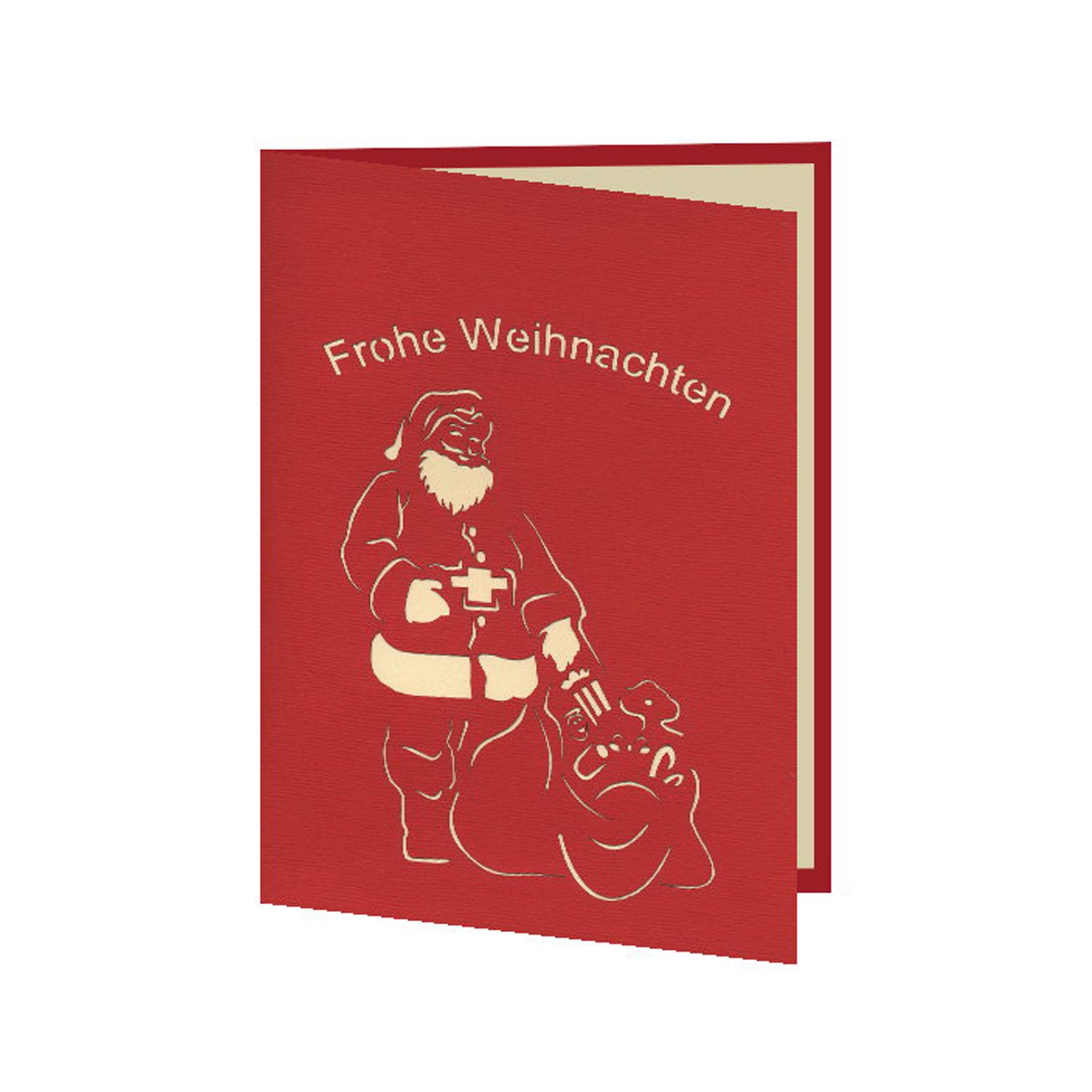 3D-Karte Weihnachtsmann mit Geschenken