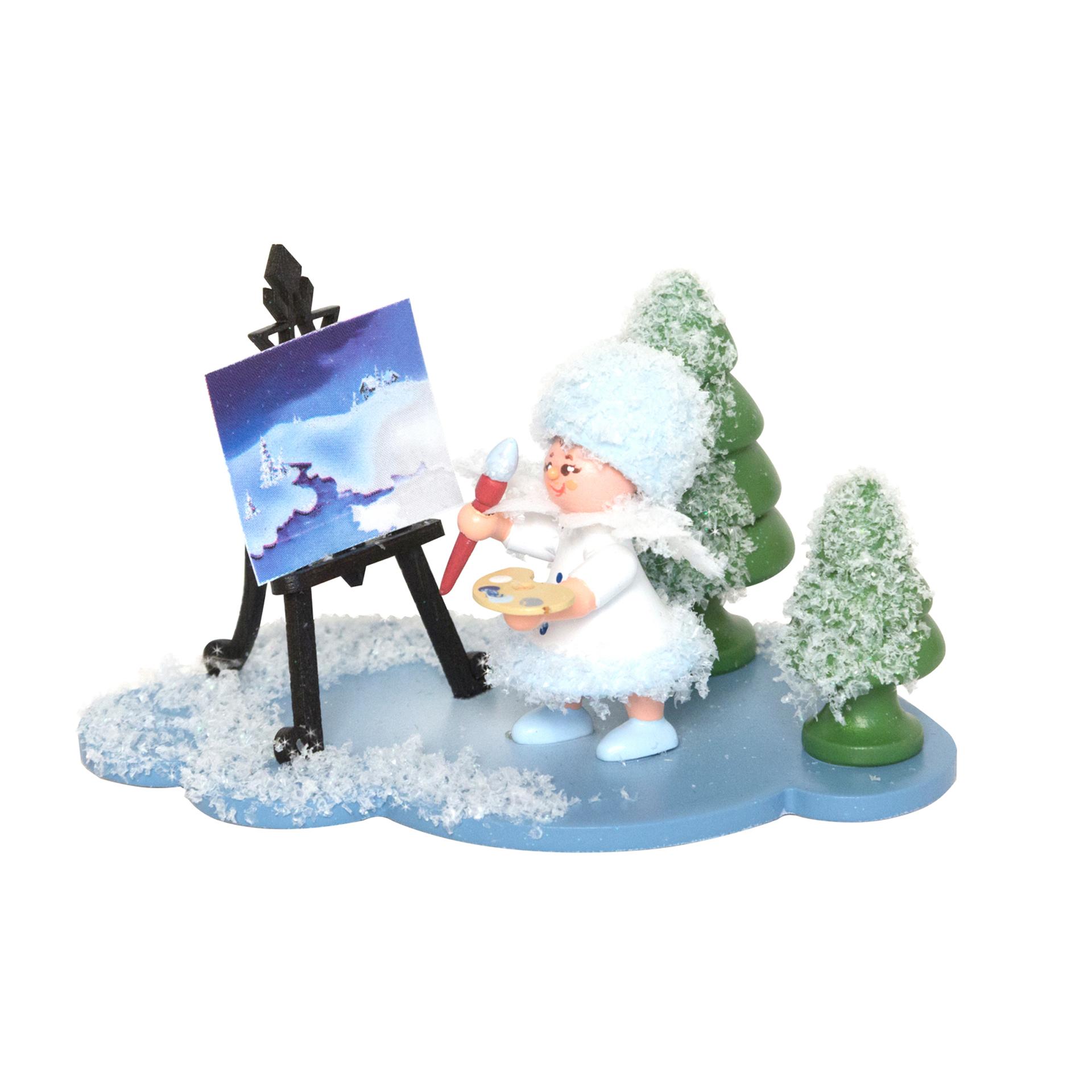 Schneeflöckchen Künstler mit Staffelei