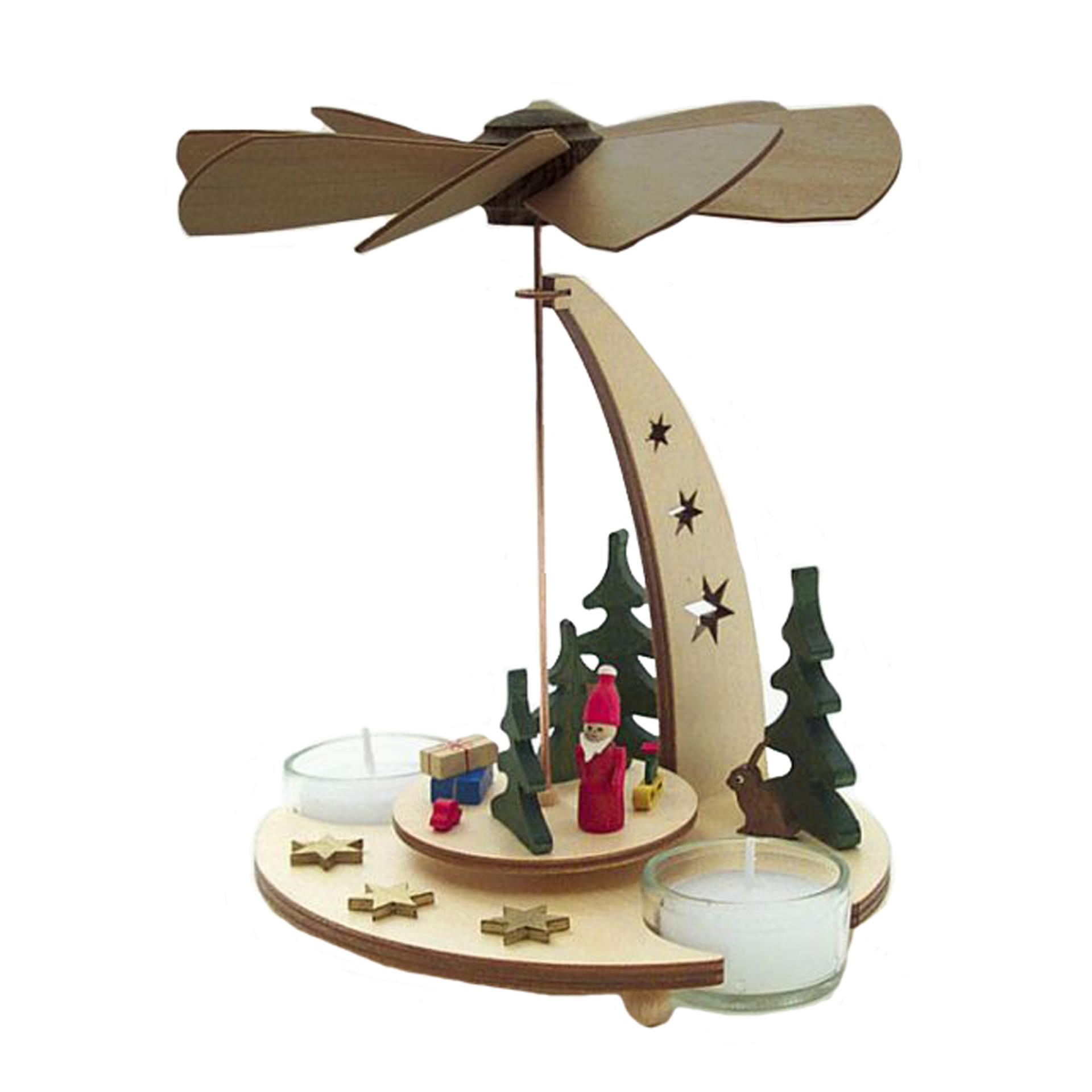 Teelichtpyramide mit Weihnachtsmann