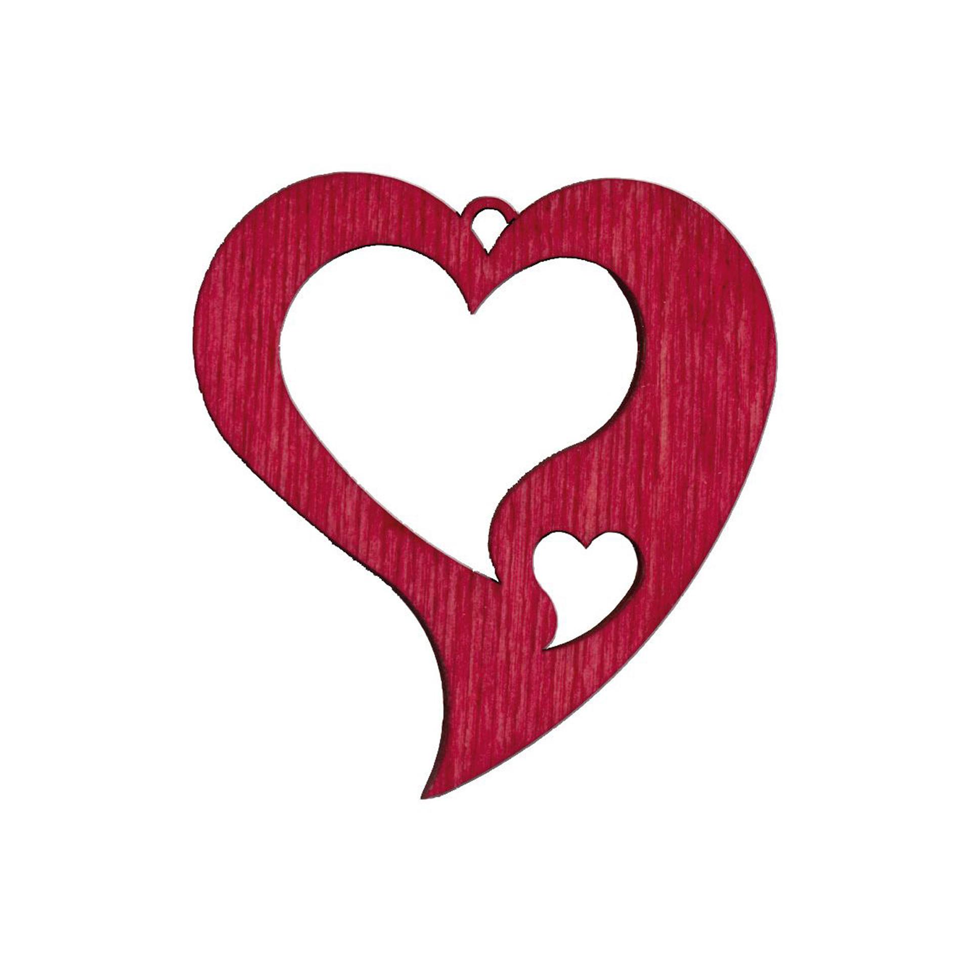Baumschmuck Zwei Herzen rot