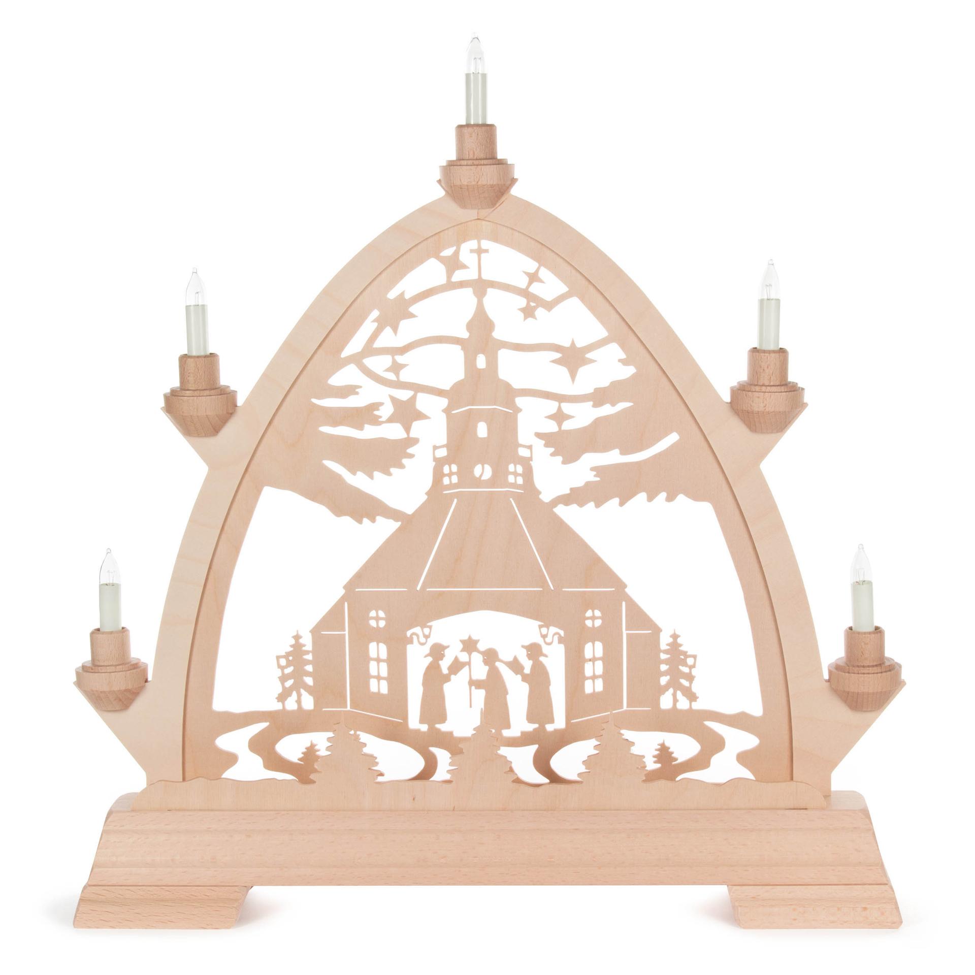Schwibbogen Seiffener Kirche und Kurrende, Gothischer Bogen